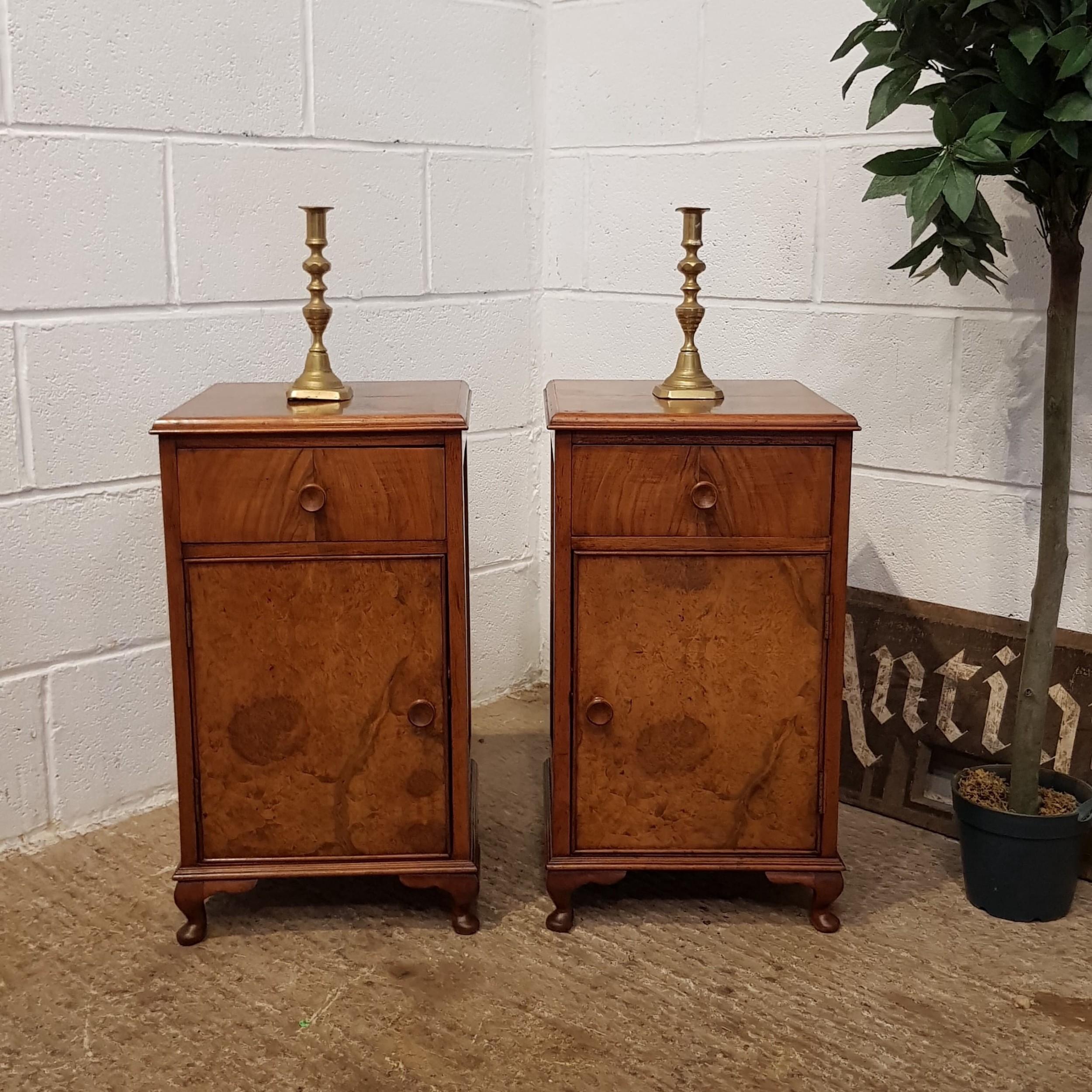 antique pair art deco burr walnut bedside cabinets c1920