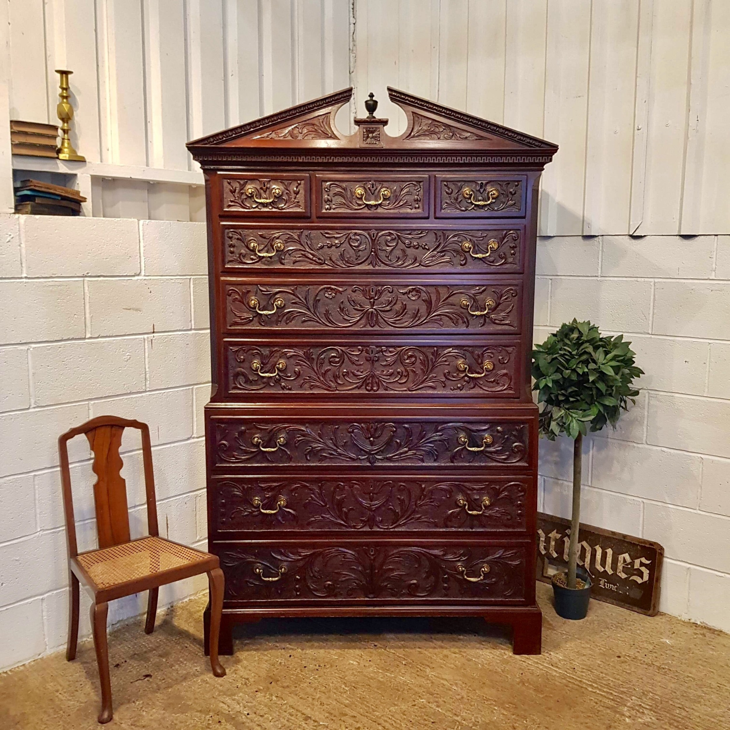 antique regency mahogany carved chest on chest c1820