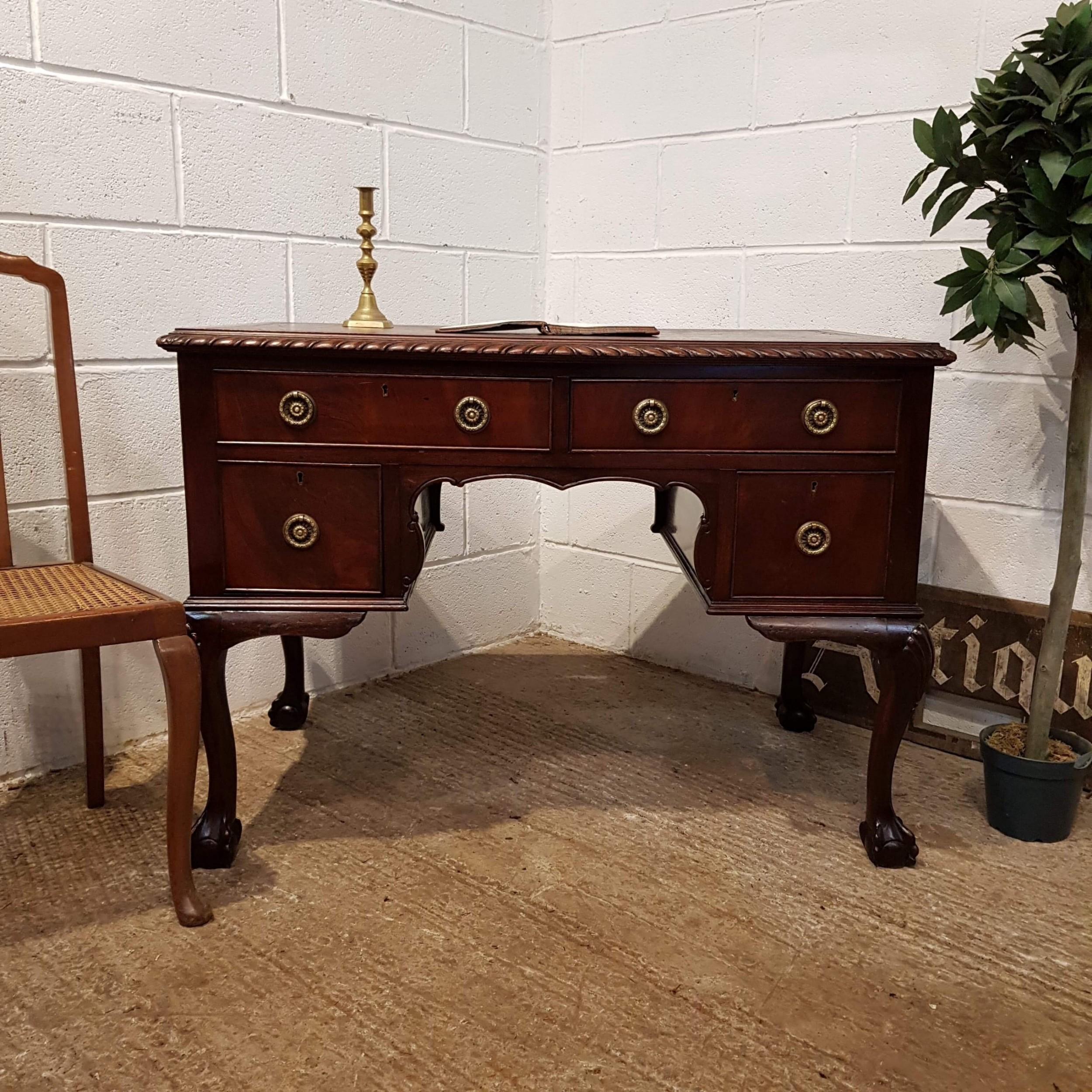 antique edwardian chippendale mahogany pedestal desk c1900