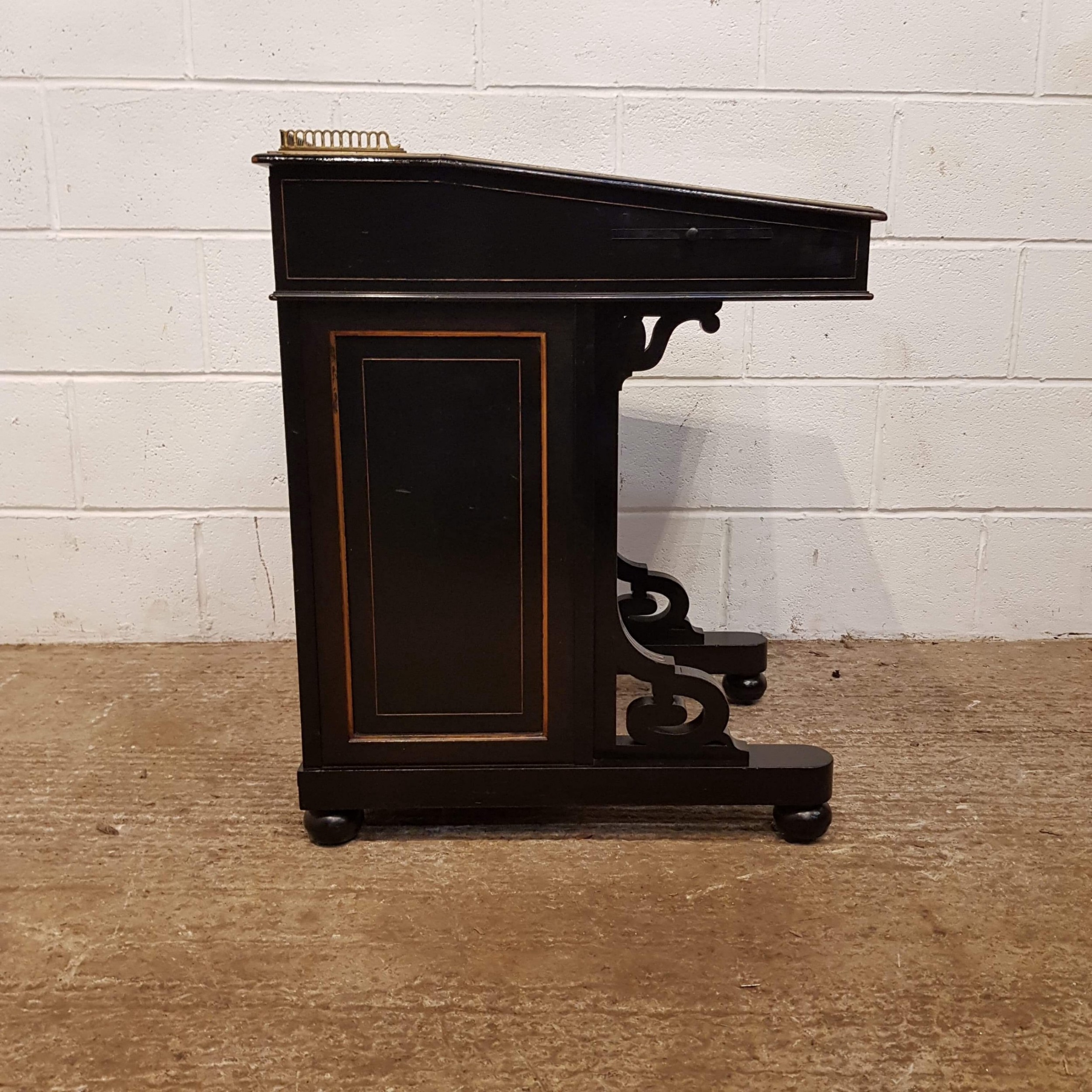 antique victorian aesthetic ebonised and gilt davenport desk c1890