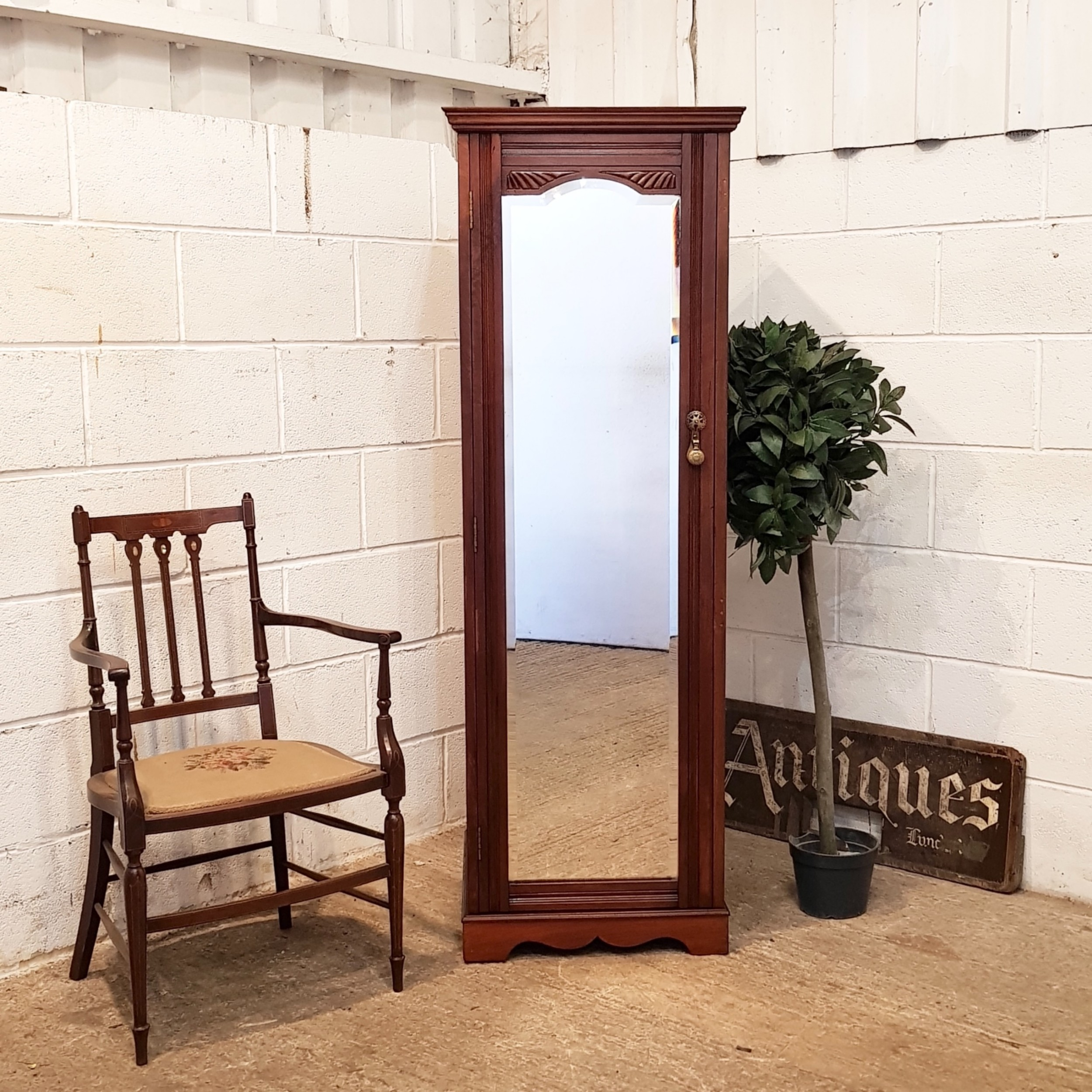 antique edwardian mahogany tall natrow mirror fronted chest of drawers c1900