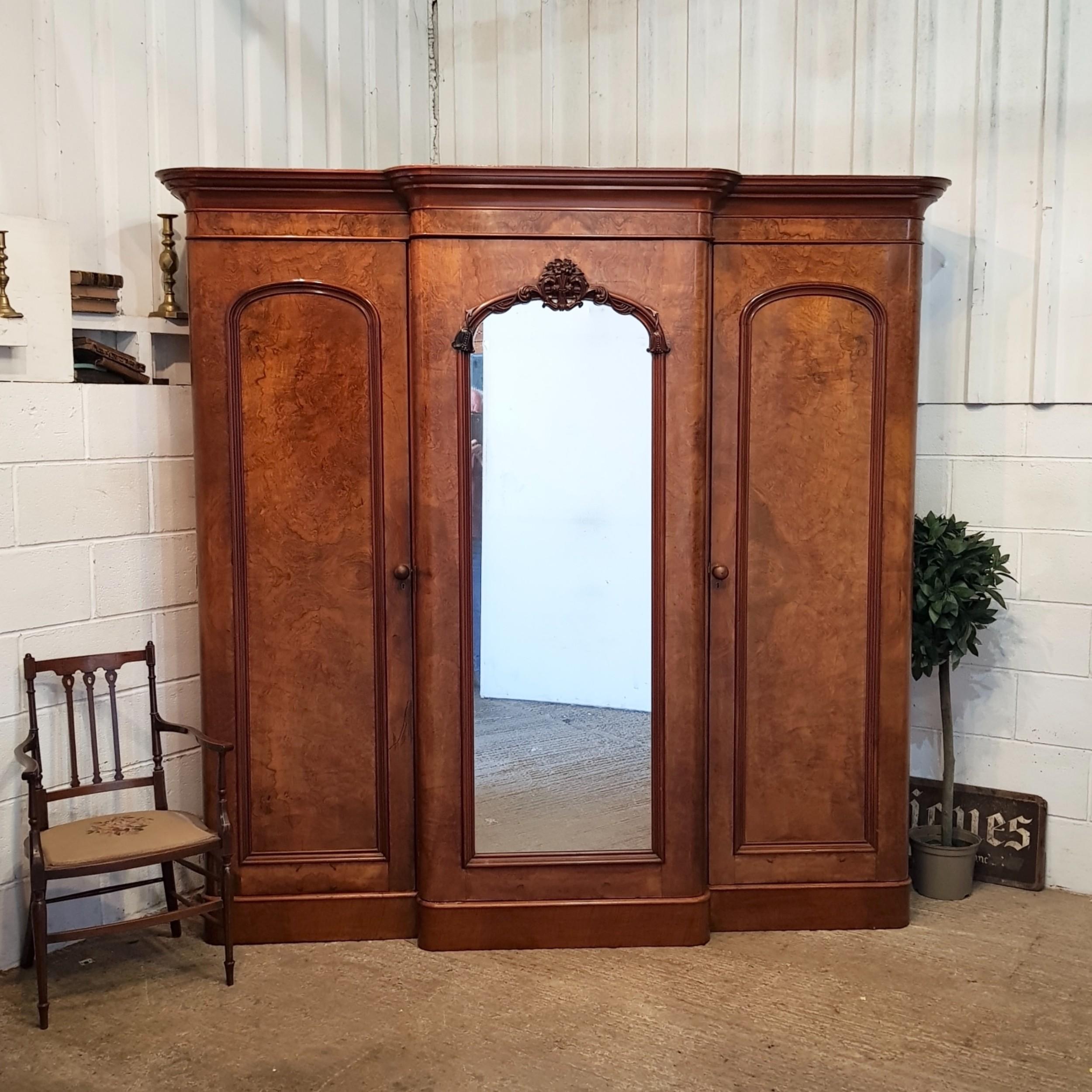 antique victorian burr walnut breakfront triple wardrobe c1880