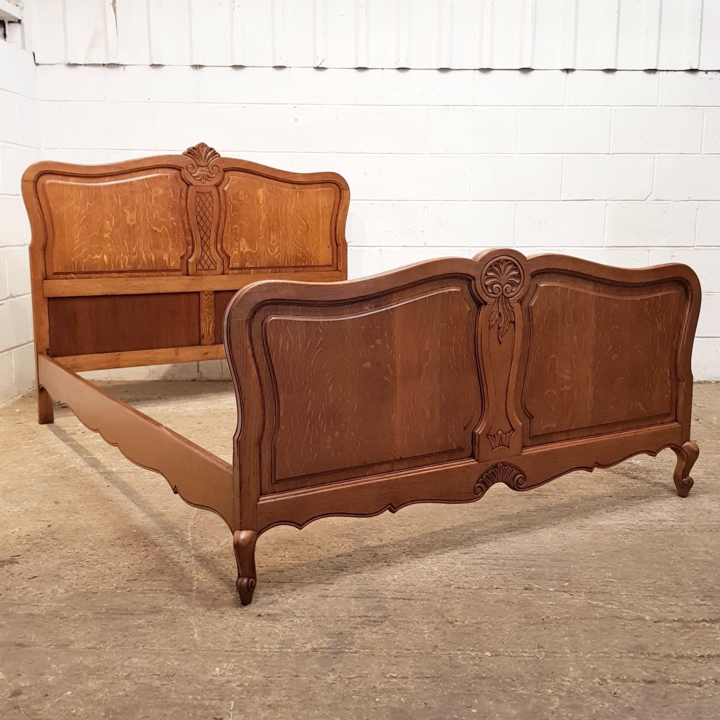 antique french art nouveau oak double bed c1920
