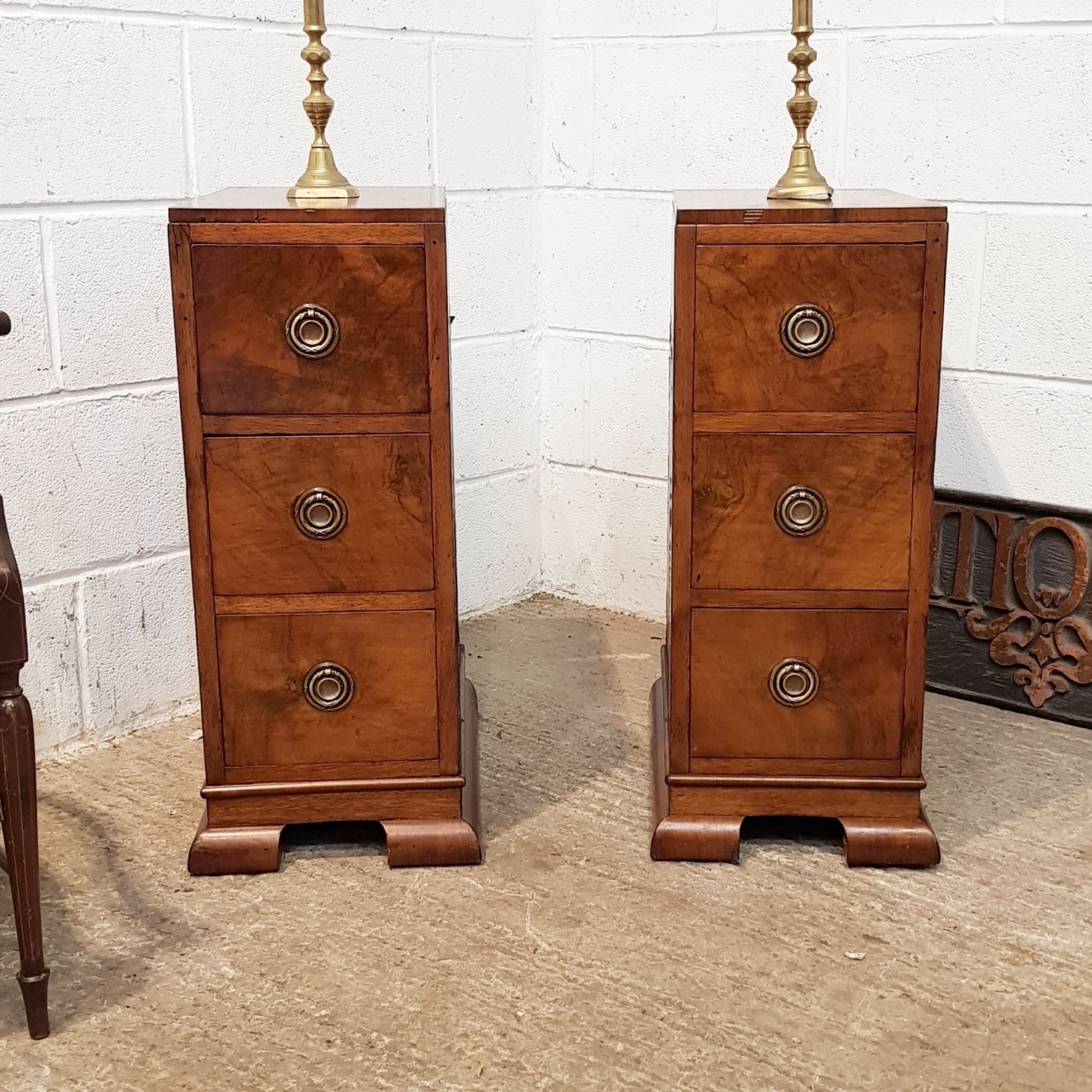 antique pair art deco burr walnut bedside chests of drawers c1920