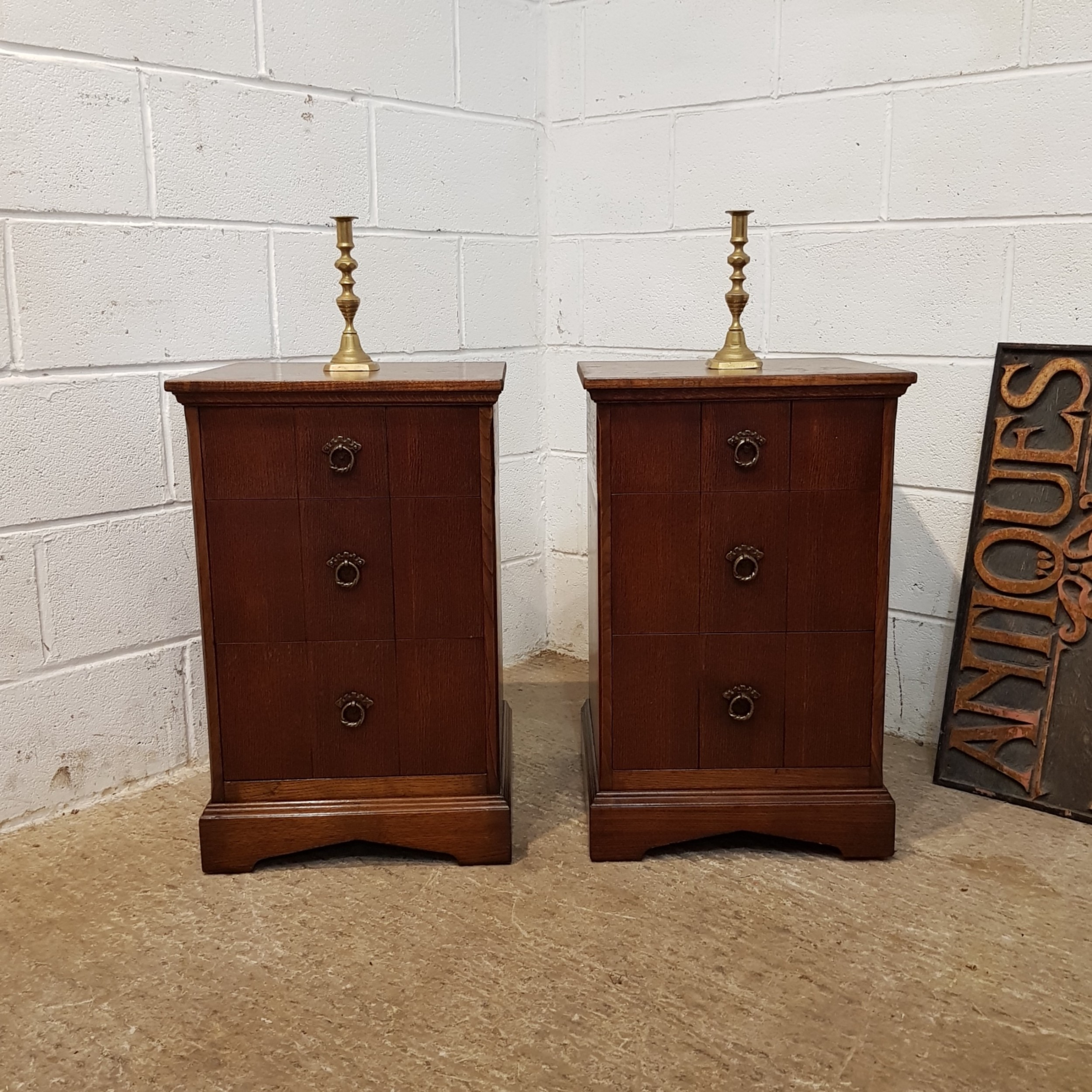 antique pair oak bedside chests of drawers c1920