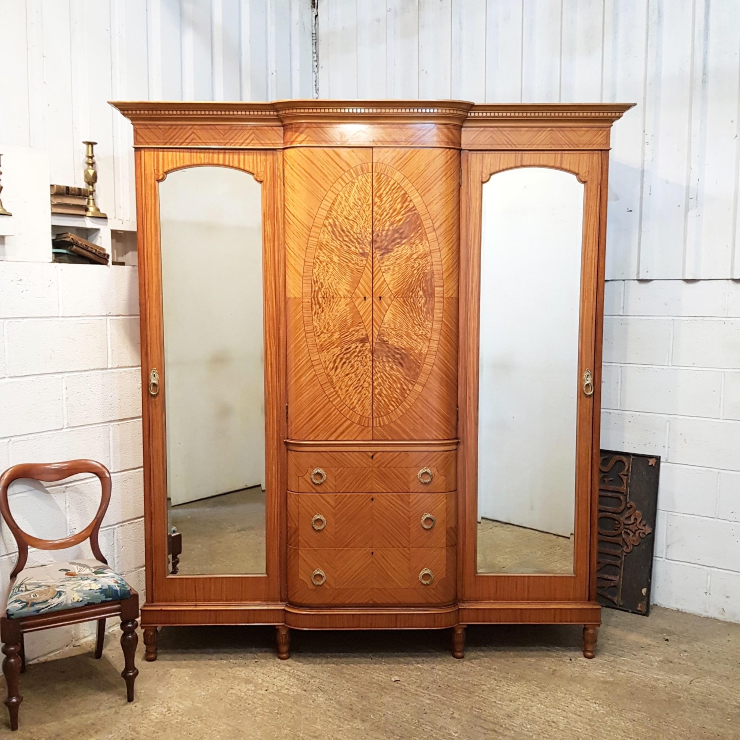 antique edwardian satinwood breakfront triple wardrobe c1900