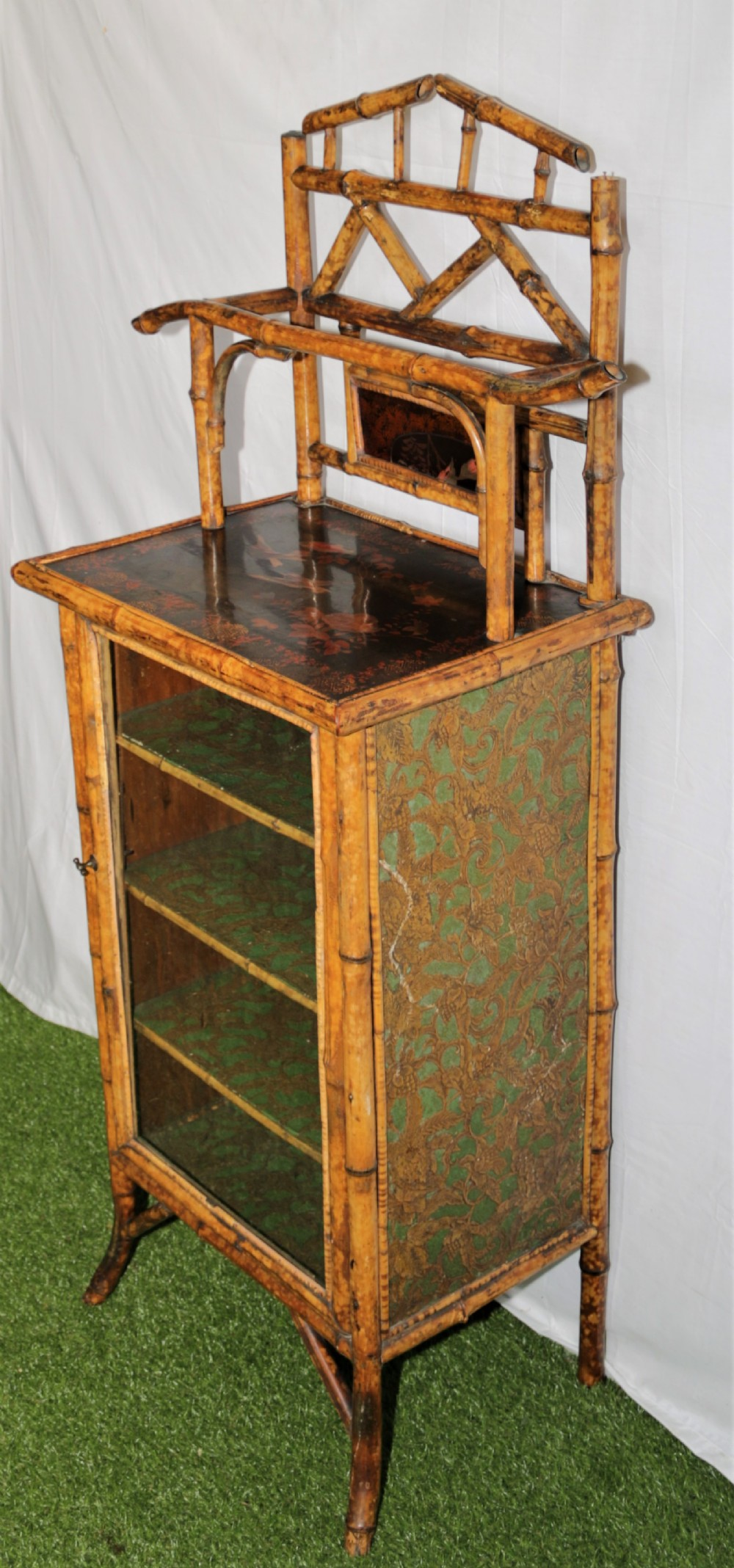 a victorian bamboo music cabinet