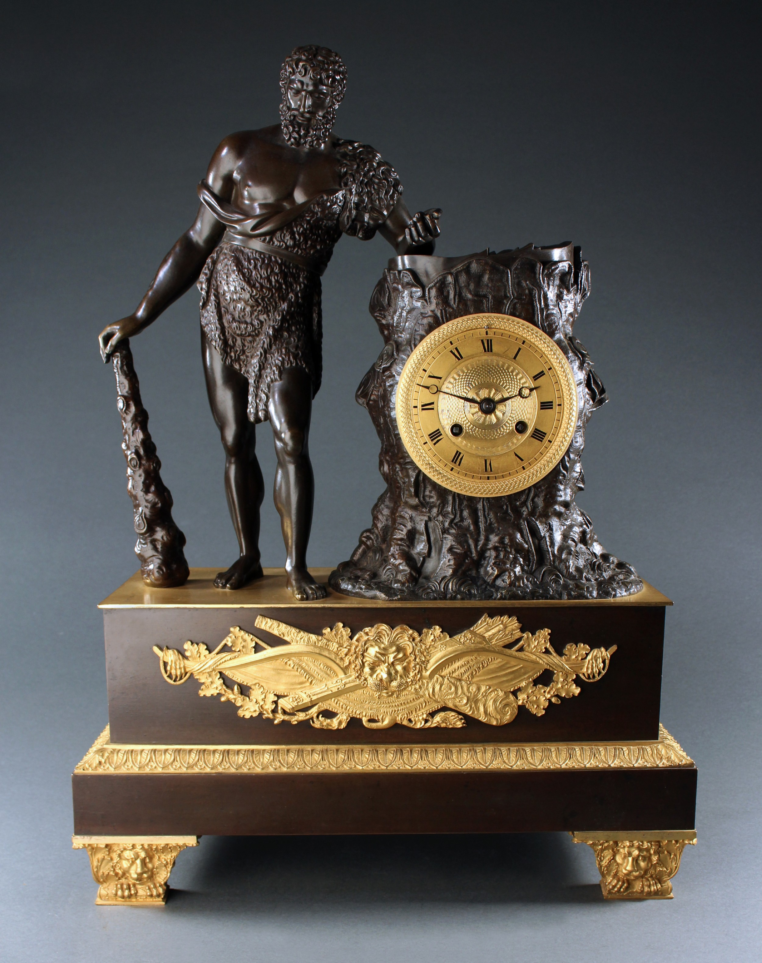 superb large french empire hercules and the apple of hesperides mantel clock