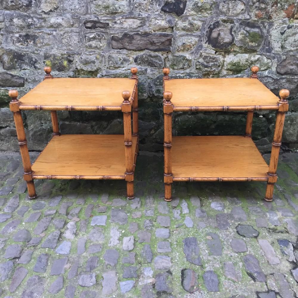 pair of edwardian two tier oak side tables