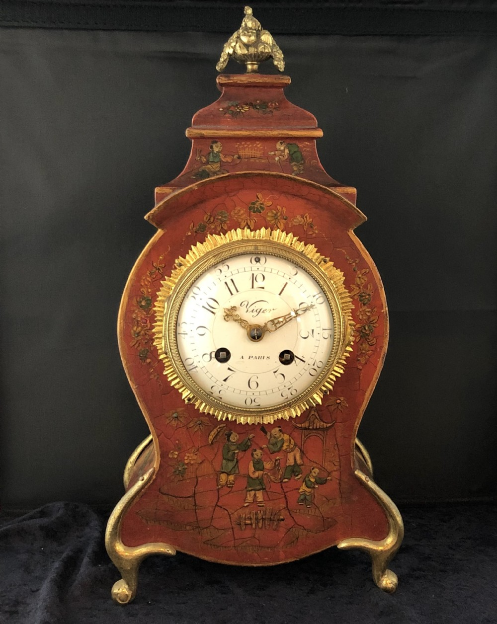 mid 19th french chinoiserie mantel clock
