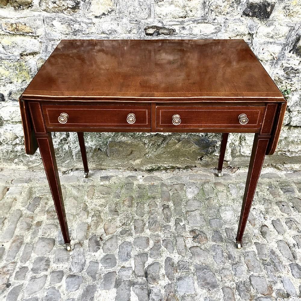 a sheraton revival mahogany sofa table