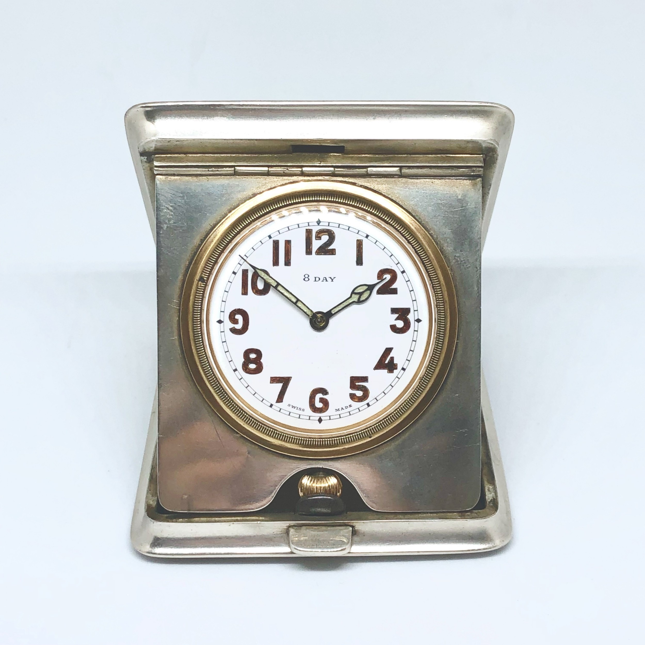 an early 20th century silver folding clock by mappin and webb