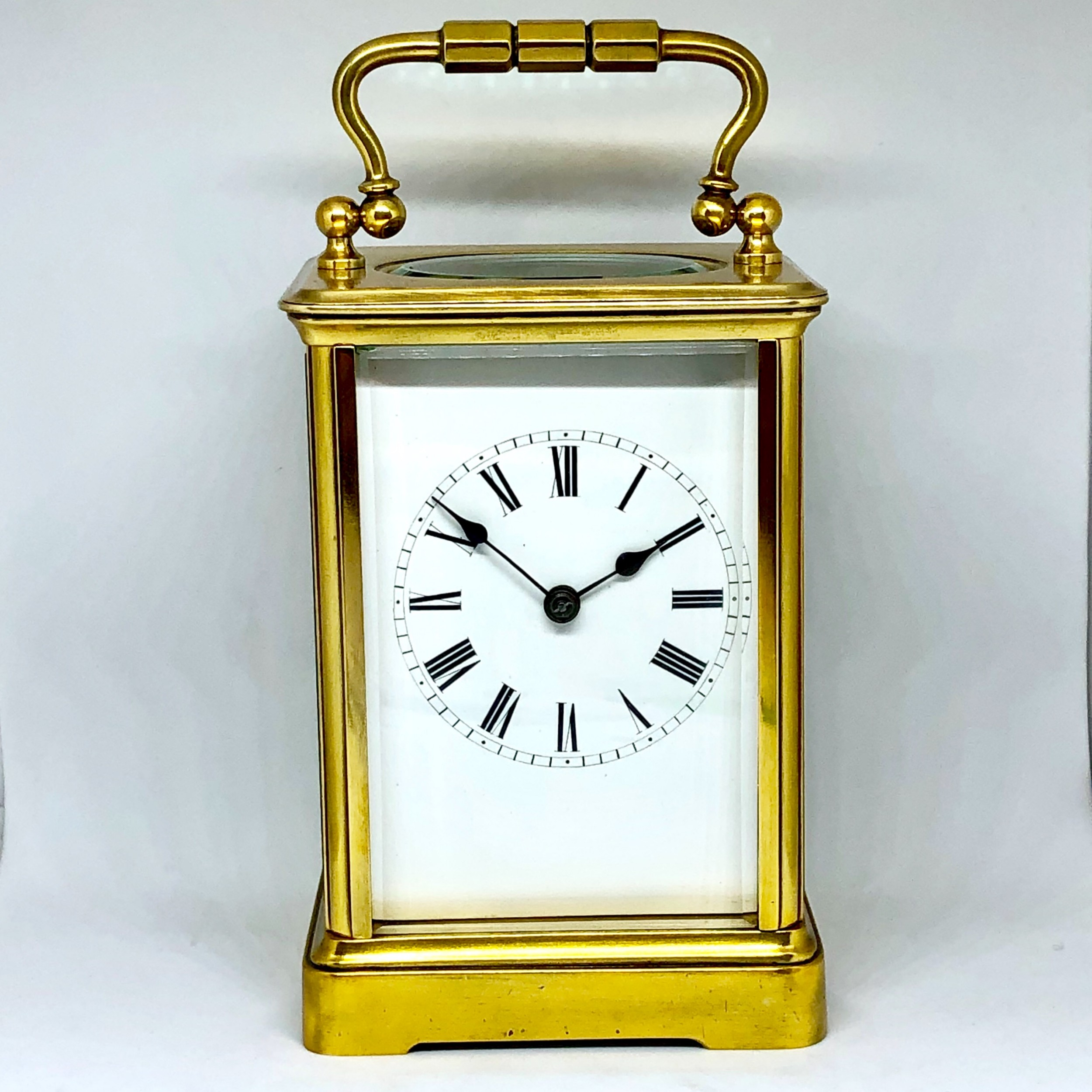 a late 19th century french gilt brass carriage clock