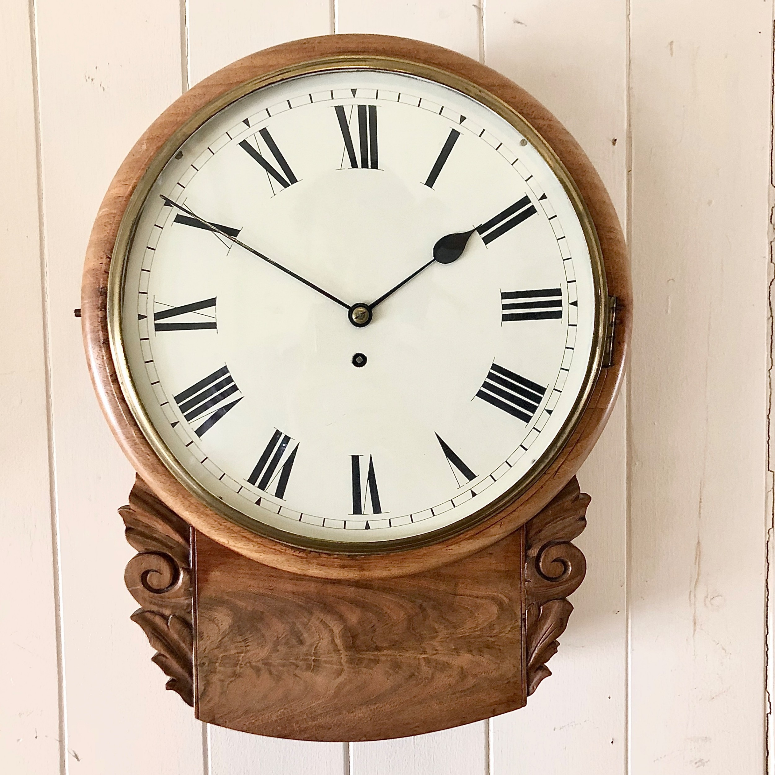 an early victorian mahogany drop dial wall clock