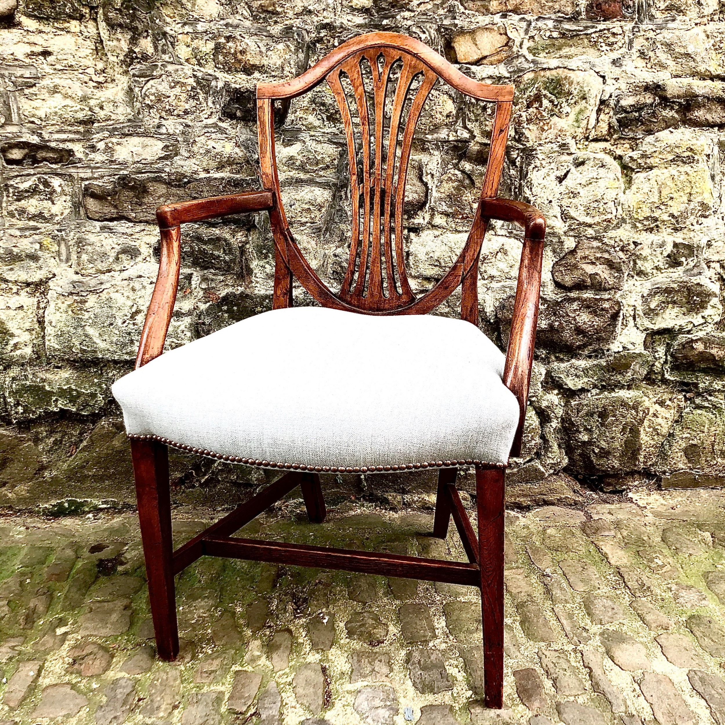 a george iii elm shield back elbow chair