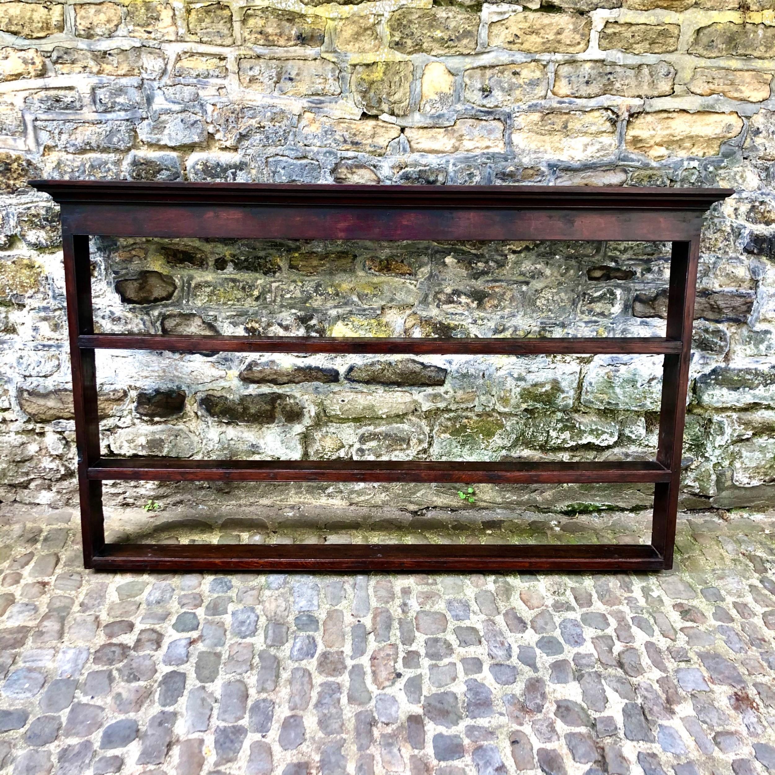 an early george iii oak plate rack