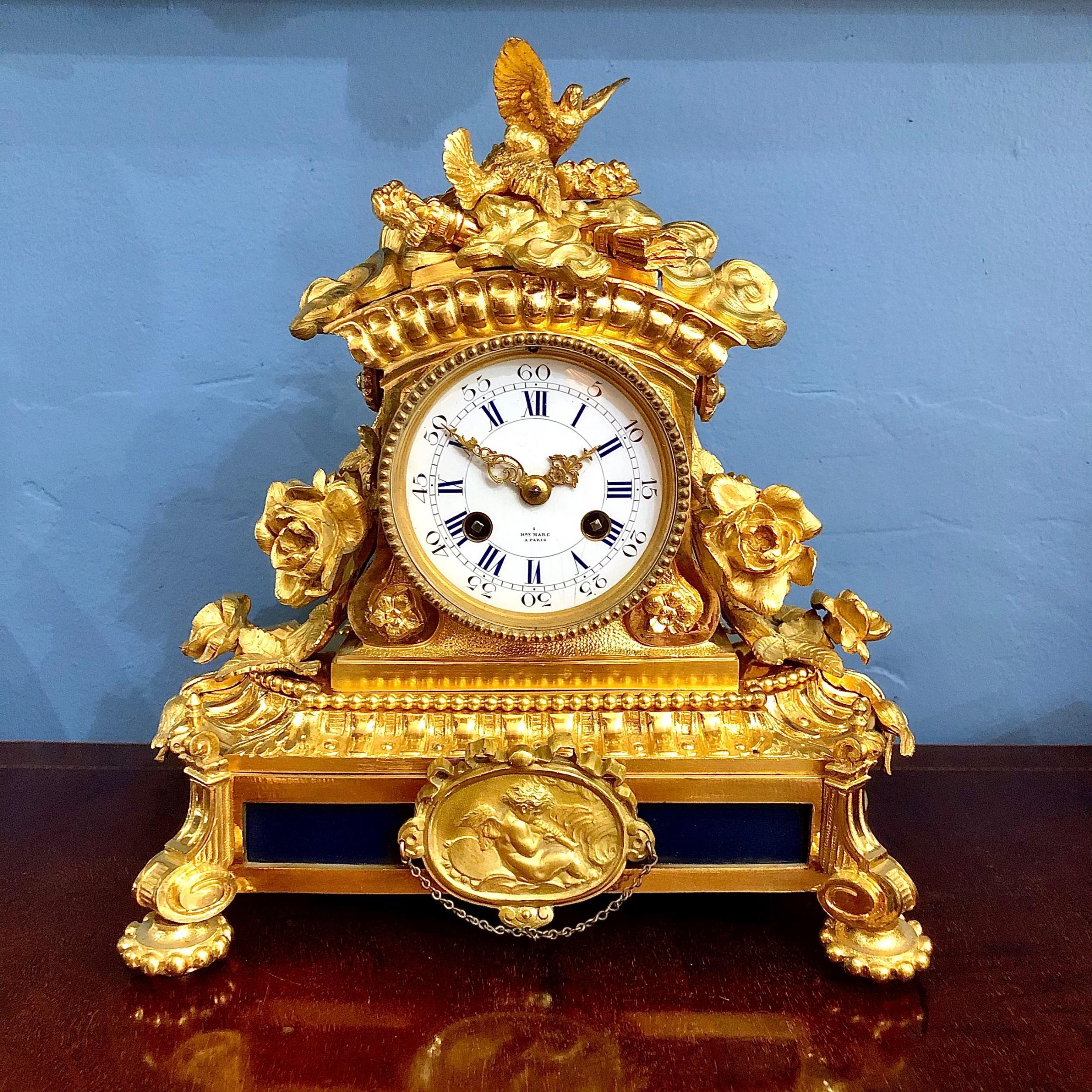 a fine mantel clock by henri marc