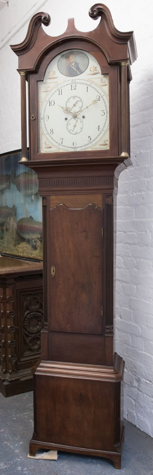 8 day mahogany painted arch dial long case clock admiral nelson