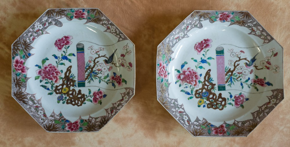 a pair of chinese qianlong famille rose dishes