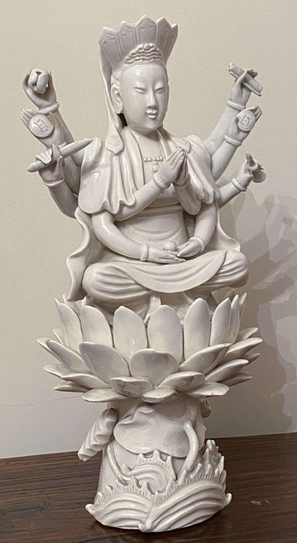10 arm blanc de chine figure of guan yin