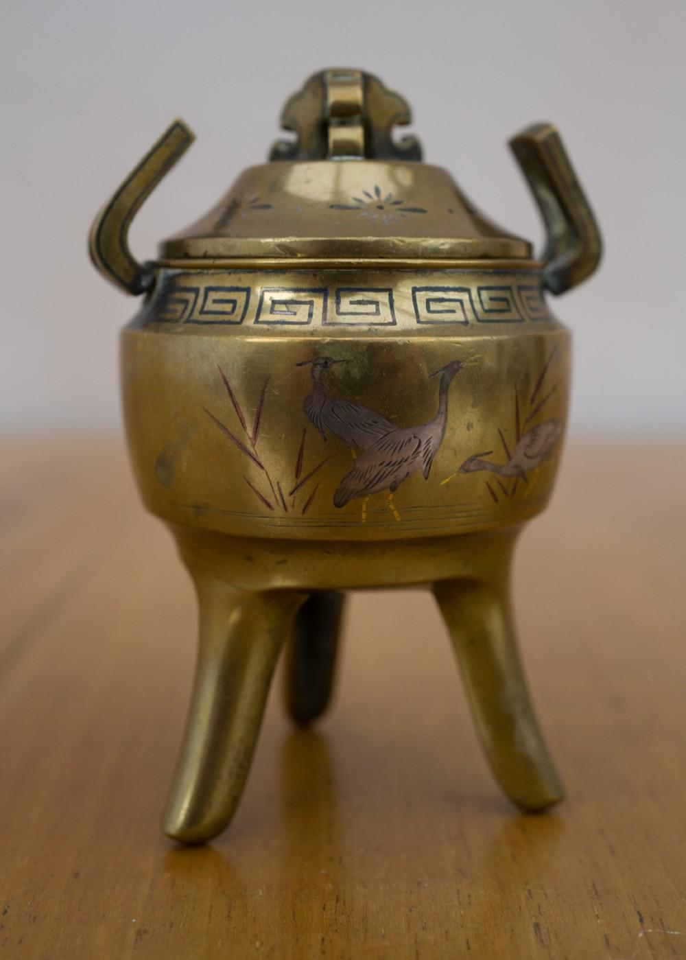 small japanese inlaid bronze koro