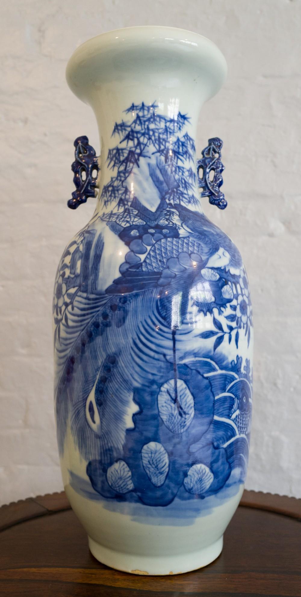 large chinese blue white vase