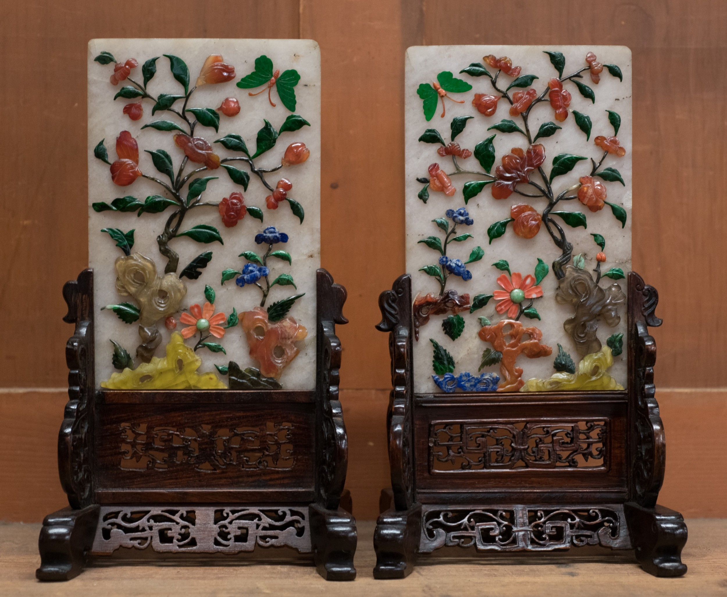 pair of chinese hardstone inlaid table screens
