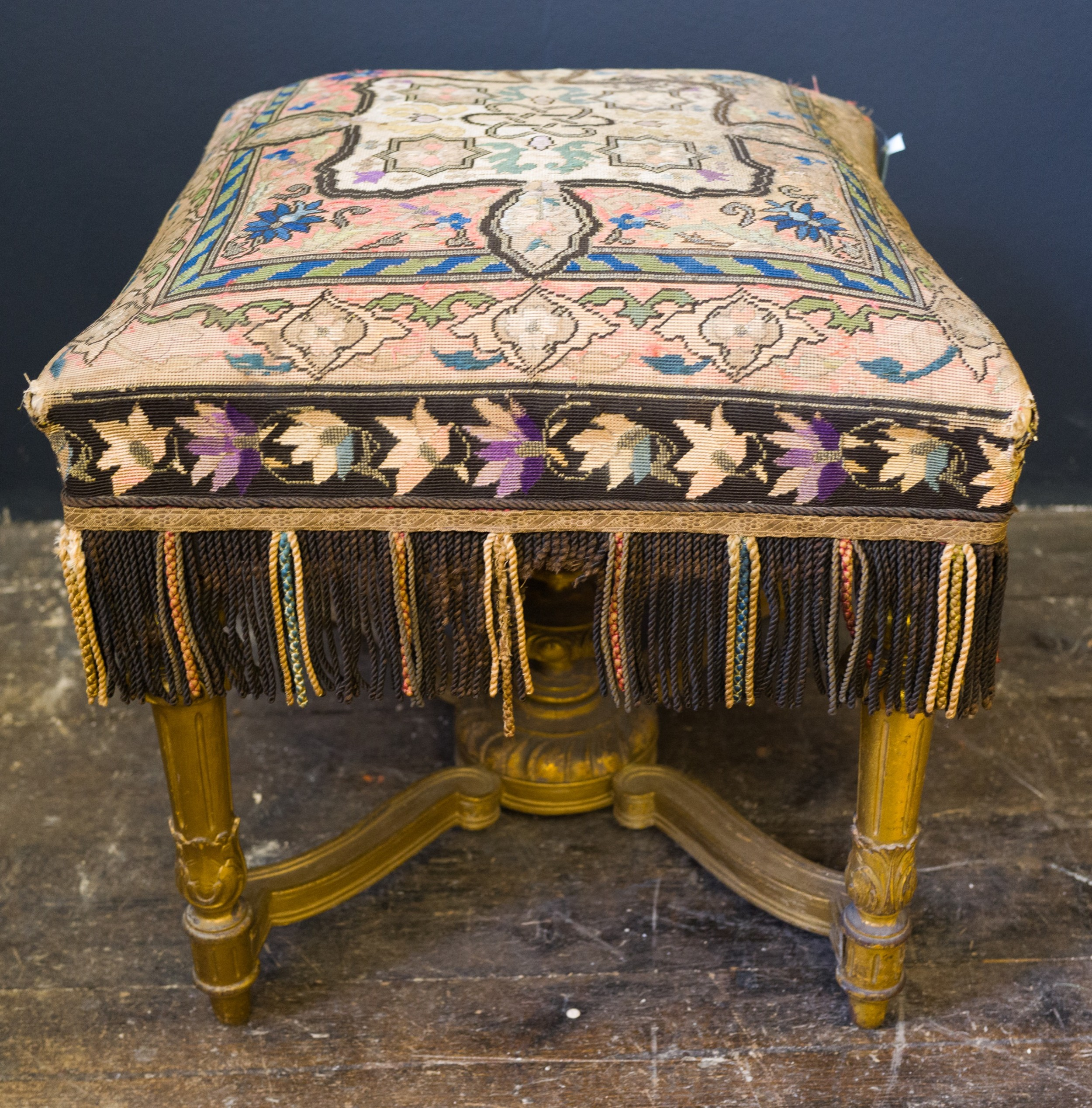 french embroidered stool