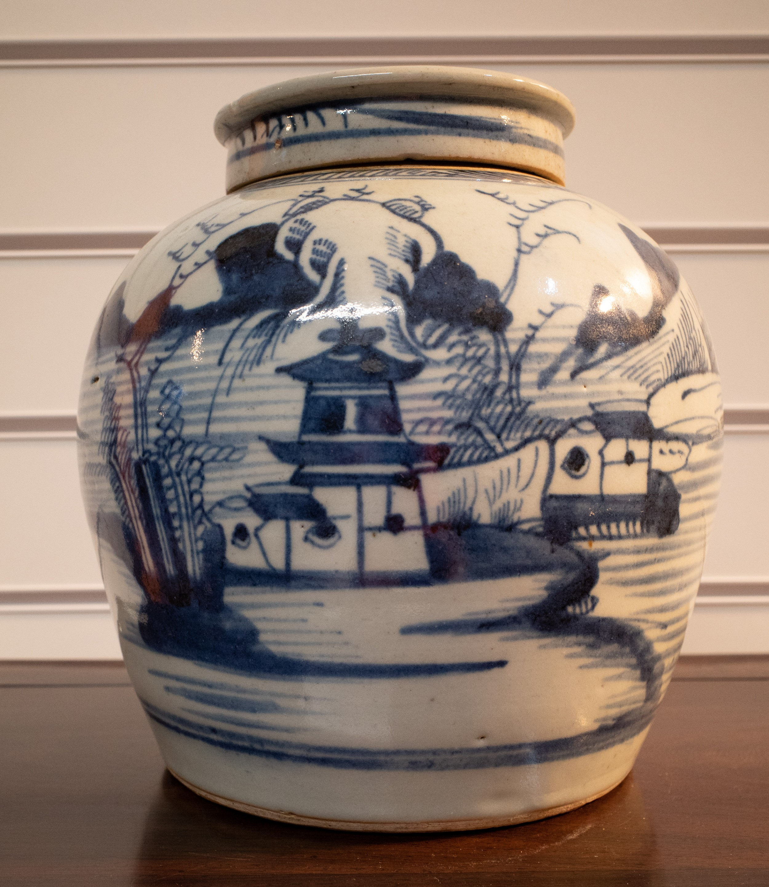 chinese blue and white jar and lid