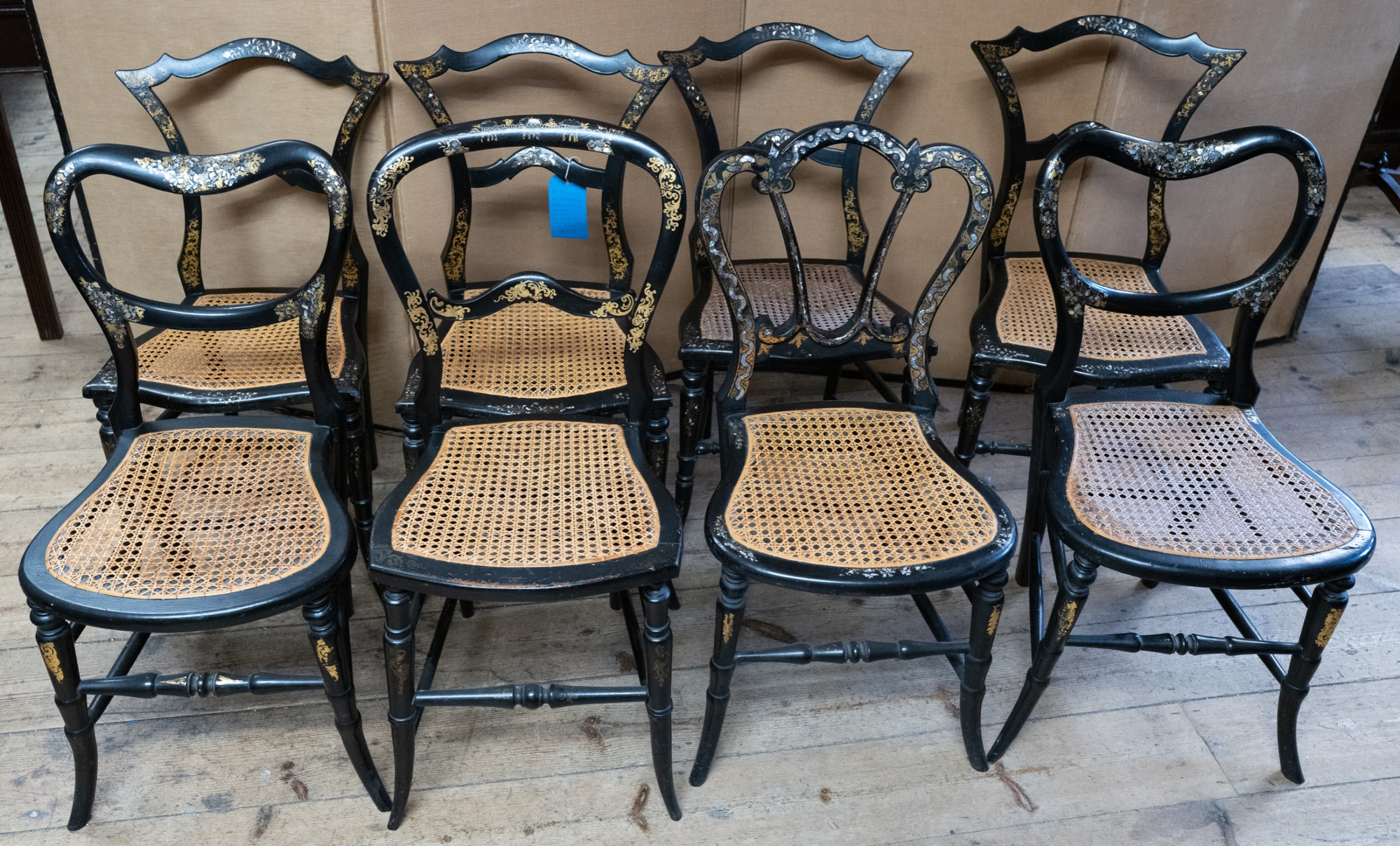 a set of 8 matched victorian ebonised beach chairs plain with mother of pearl