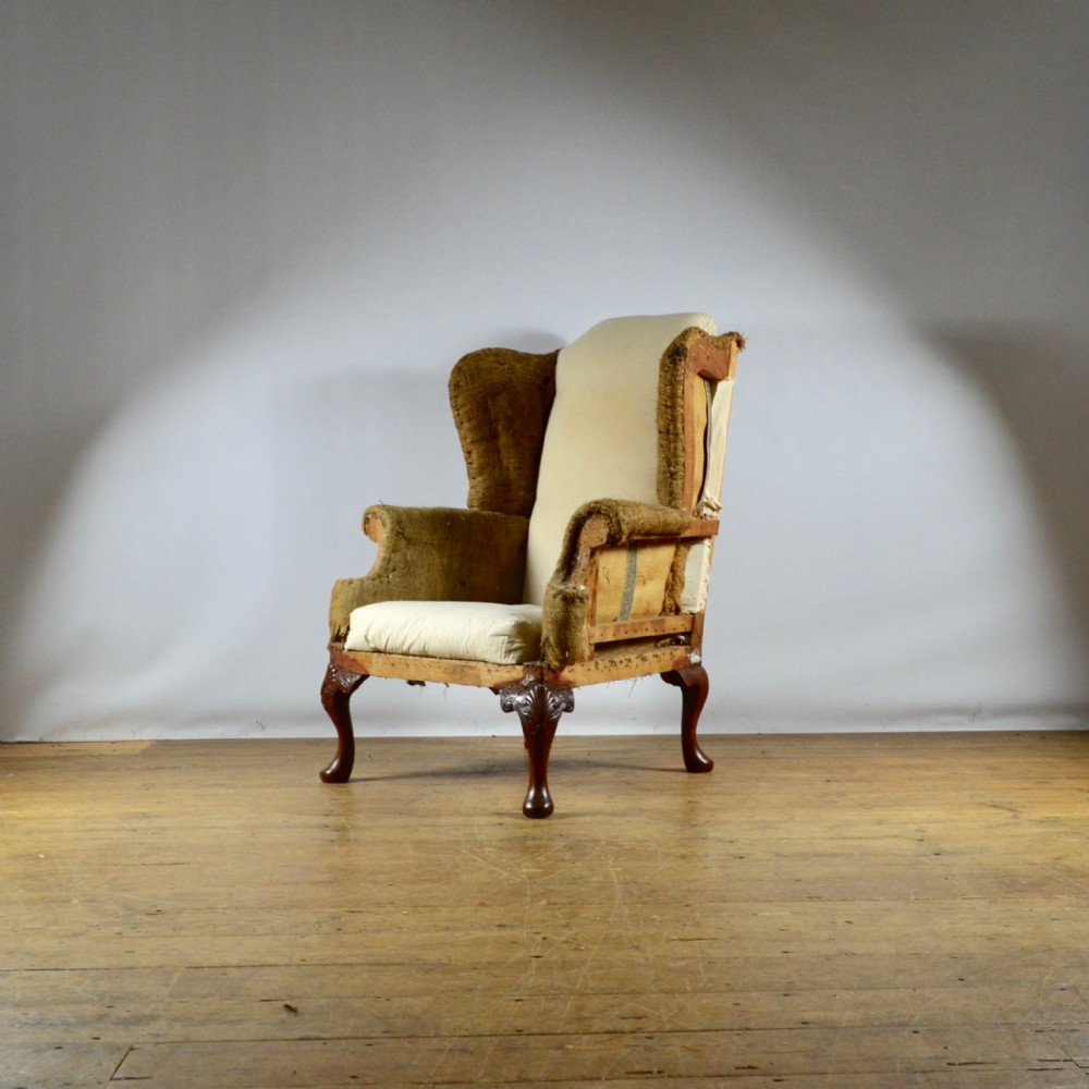 19th century english wing chair upholstery included