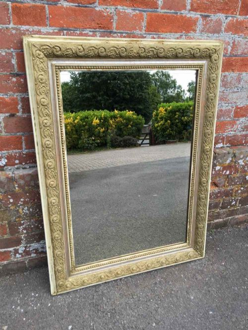 a very useful size antique 19th century french carved wood gesso original mirror