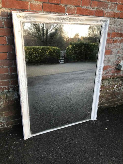 a good size early antique 19th century french original distressed painted louis philippe overmantel mirror