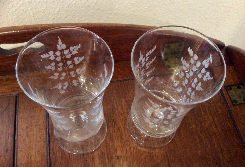 pair of edwardian etched celery glasses