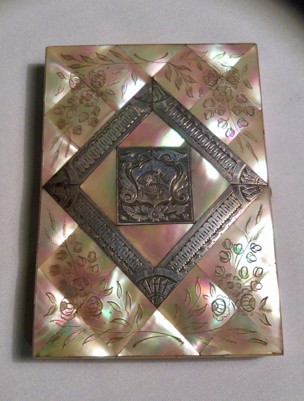 fine quality mother of pearl silver victorian calling card case