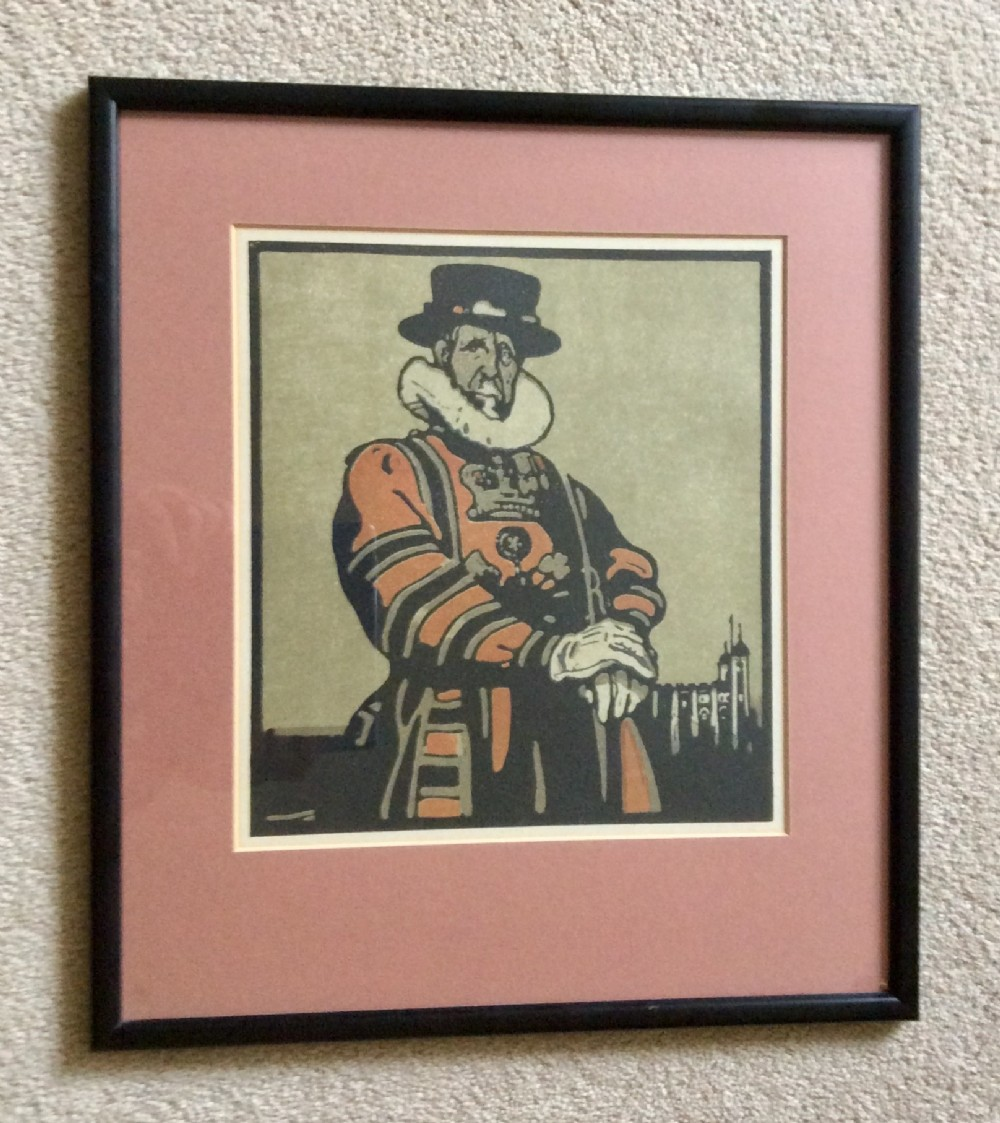 beefeater lithograph from the london types series by william nicholson