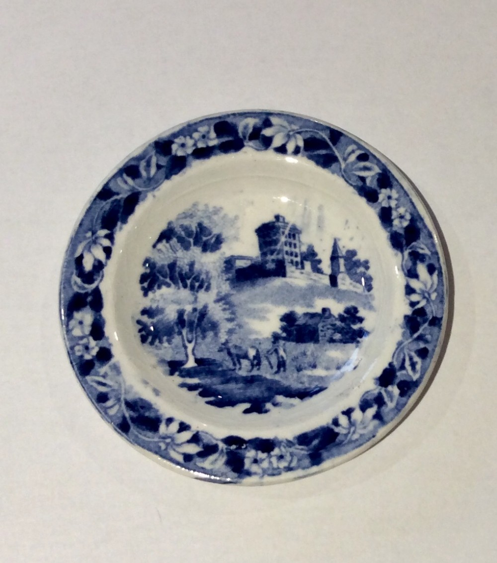 miniature blue white plate by hackwood c1845