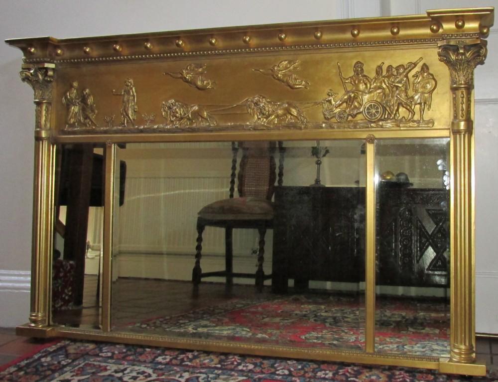 Triptych Overmantle Mirror 245869 Sellingantiques Co Uk