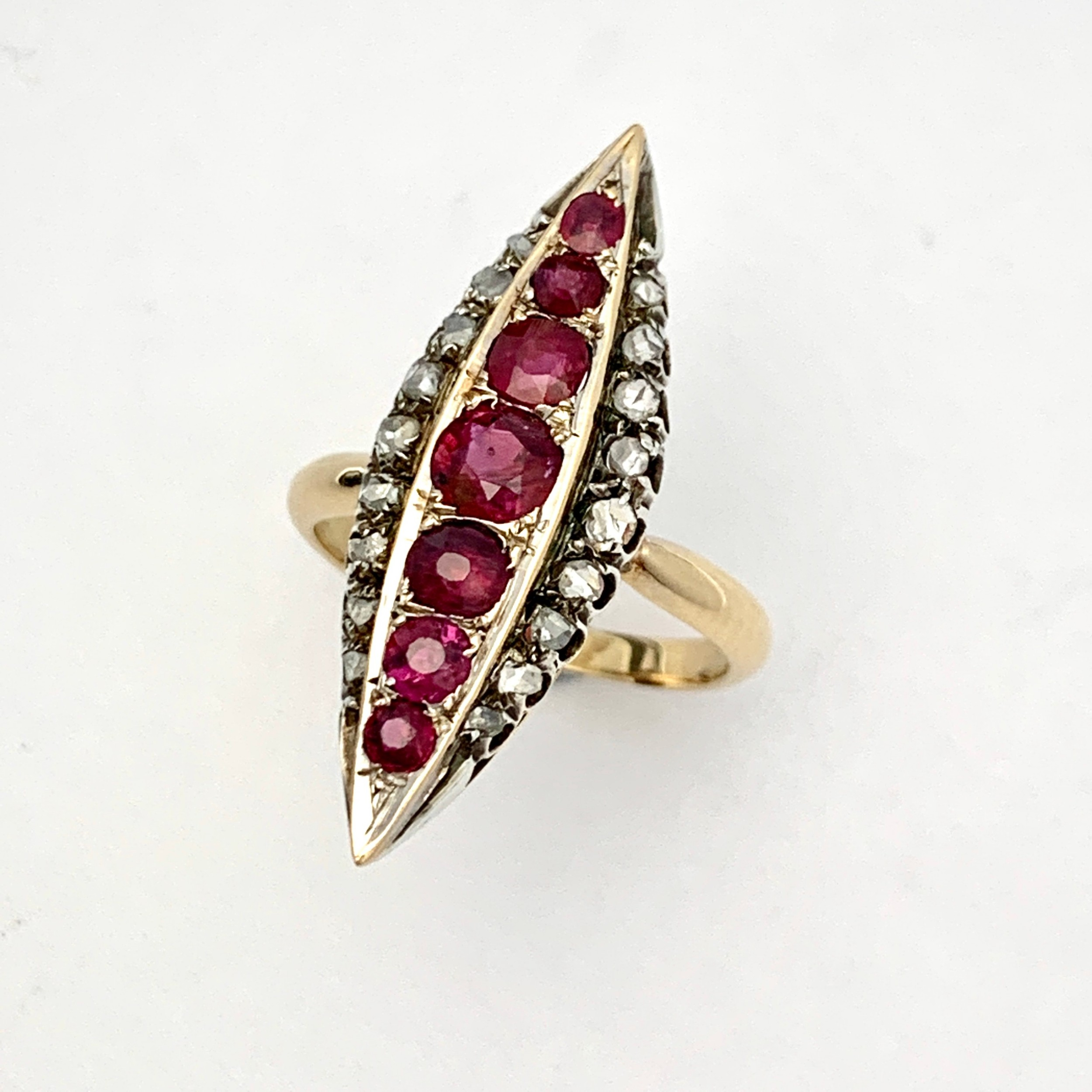 victorian ruby and diamond gold navette ring