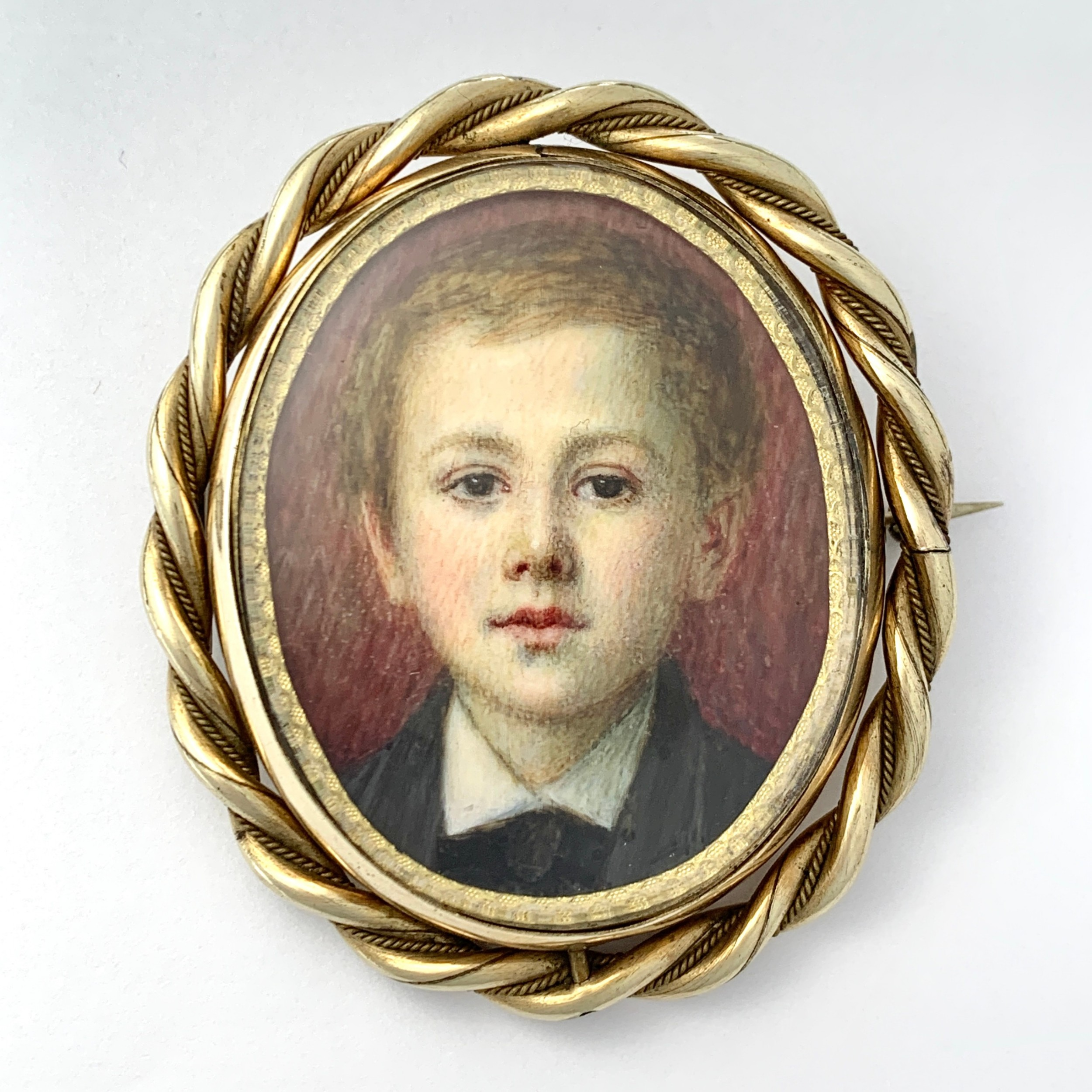 large victorian hand painted miniature mourning portrait swivel brooch