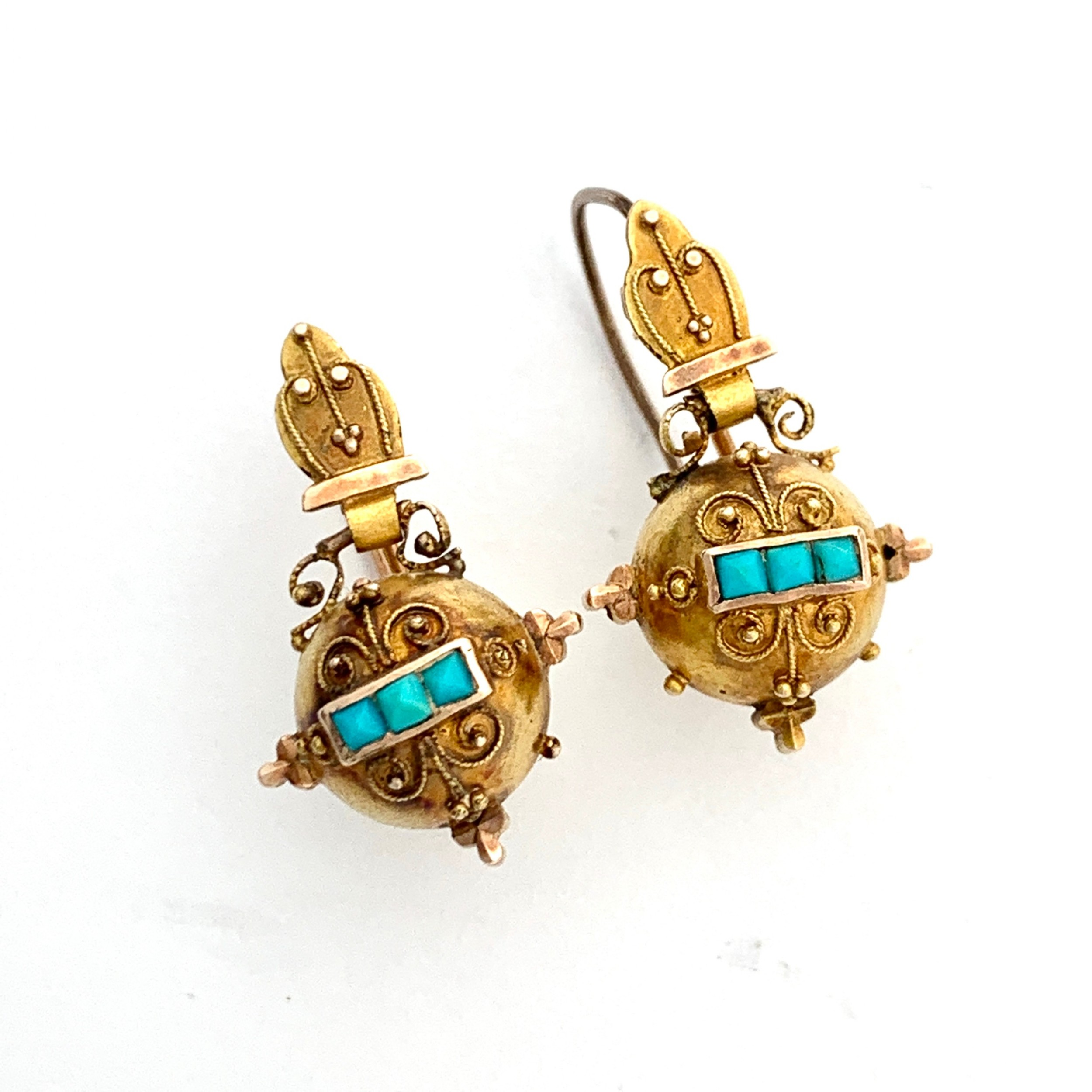 victorian 15ct gold turquoise orb earrings