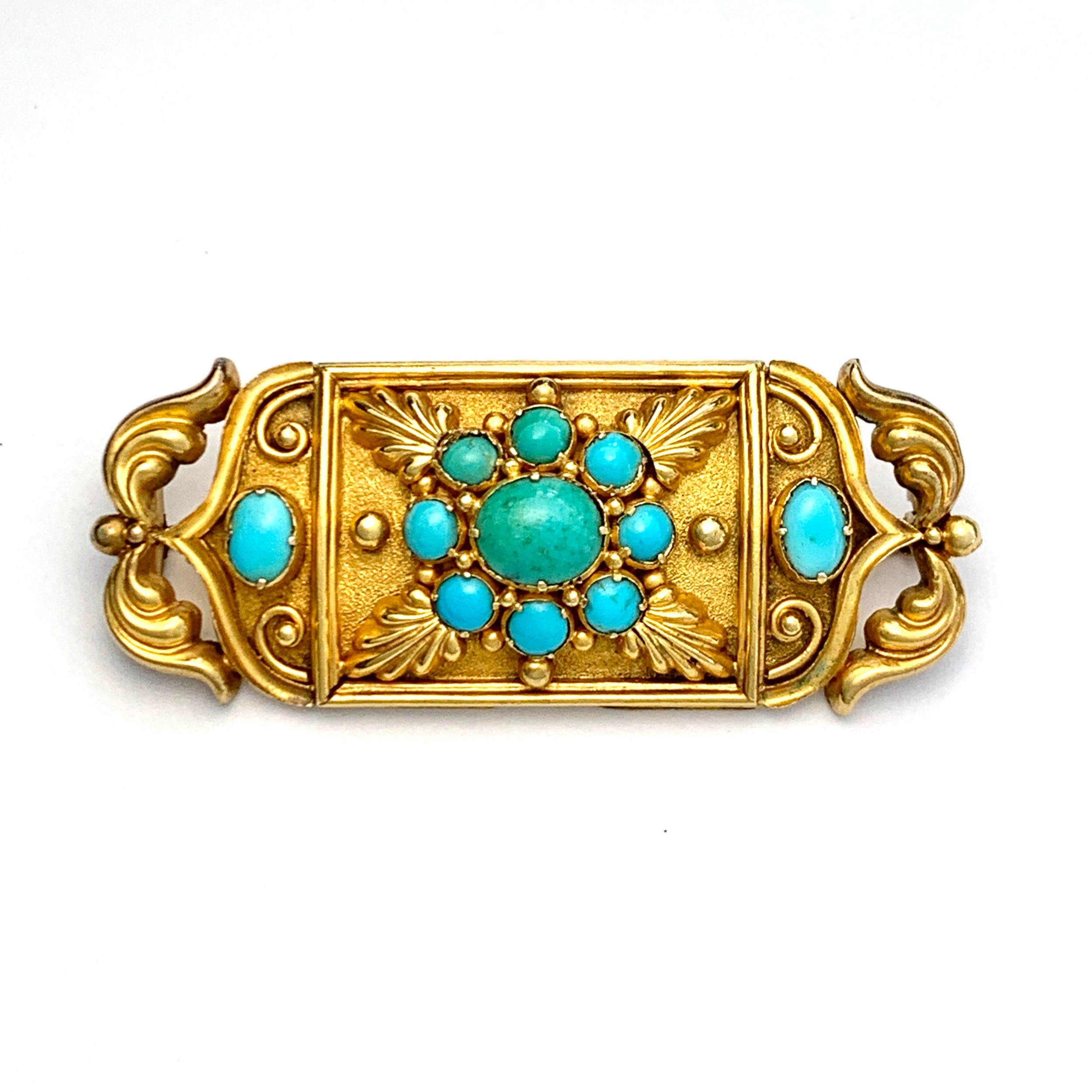 victorian etruscan revival turquoise 15ct gold brooch