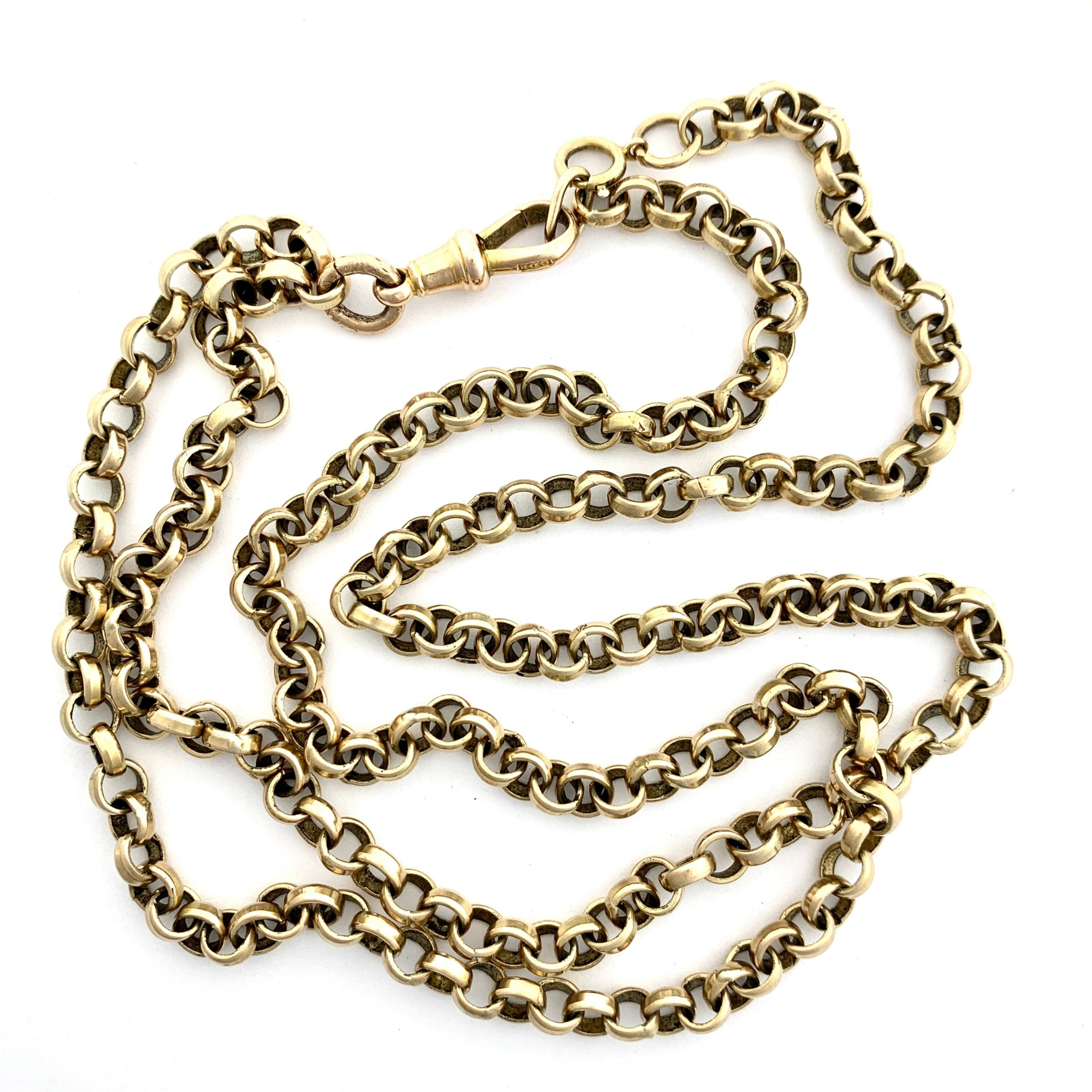very long victorian 9ct gold sautoir chain with dog clip