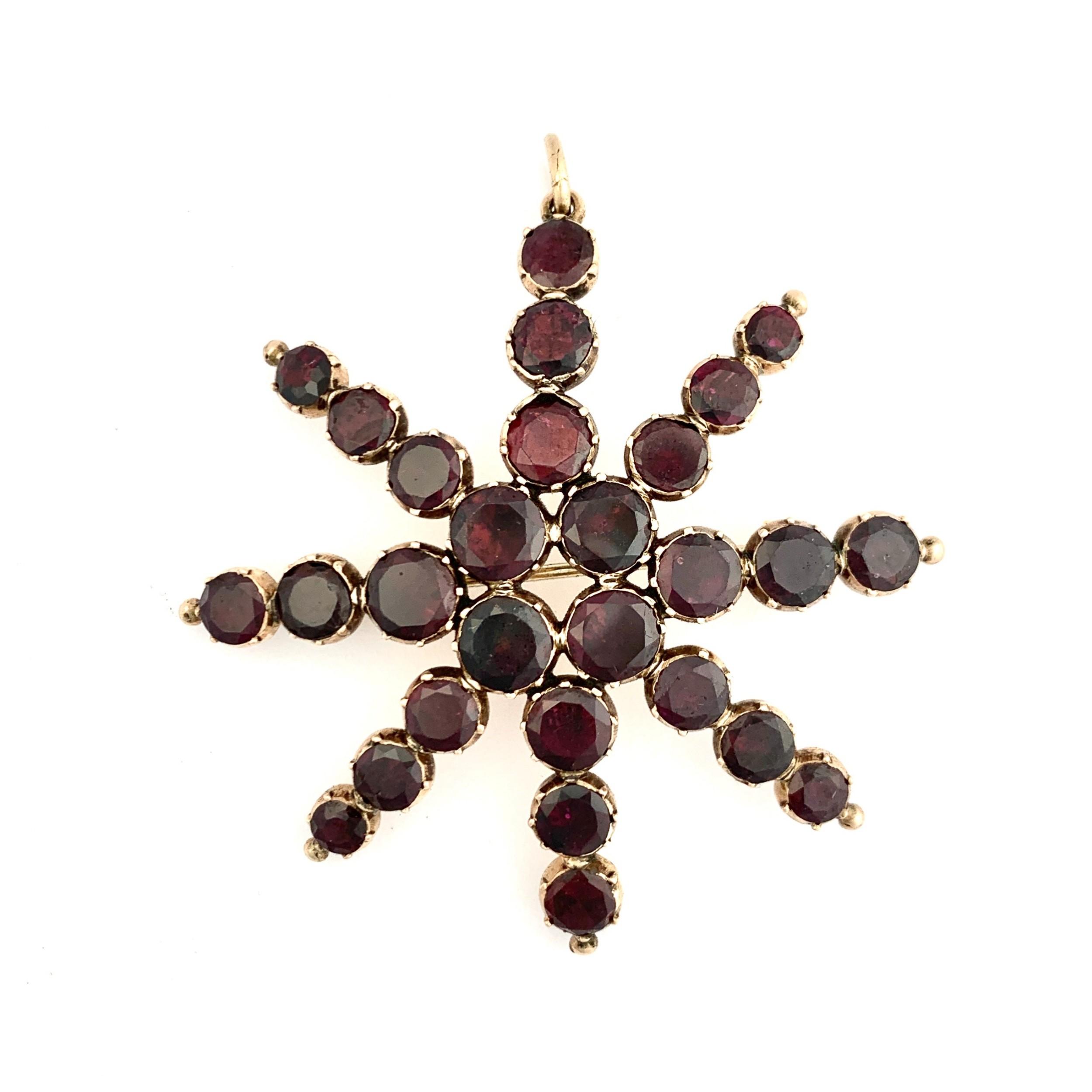 huge georgian 9ct rose gold garnet star pendantbrooch
