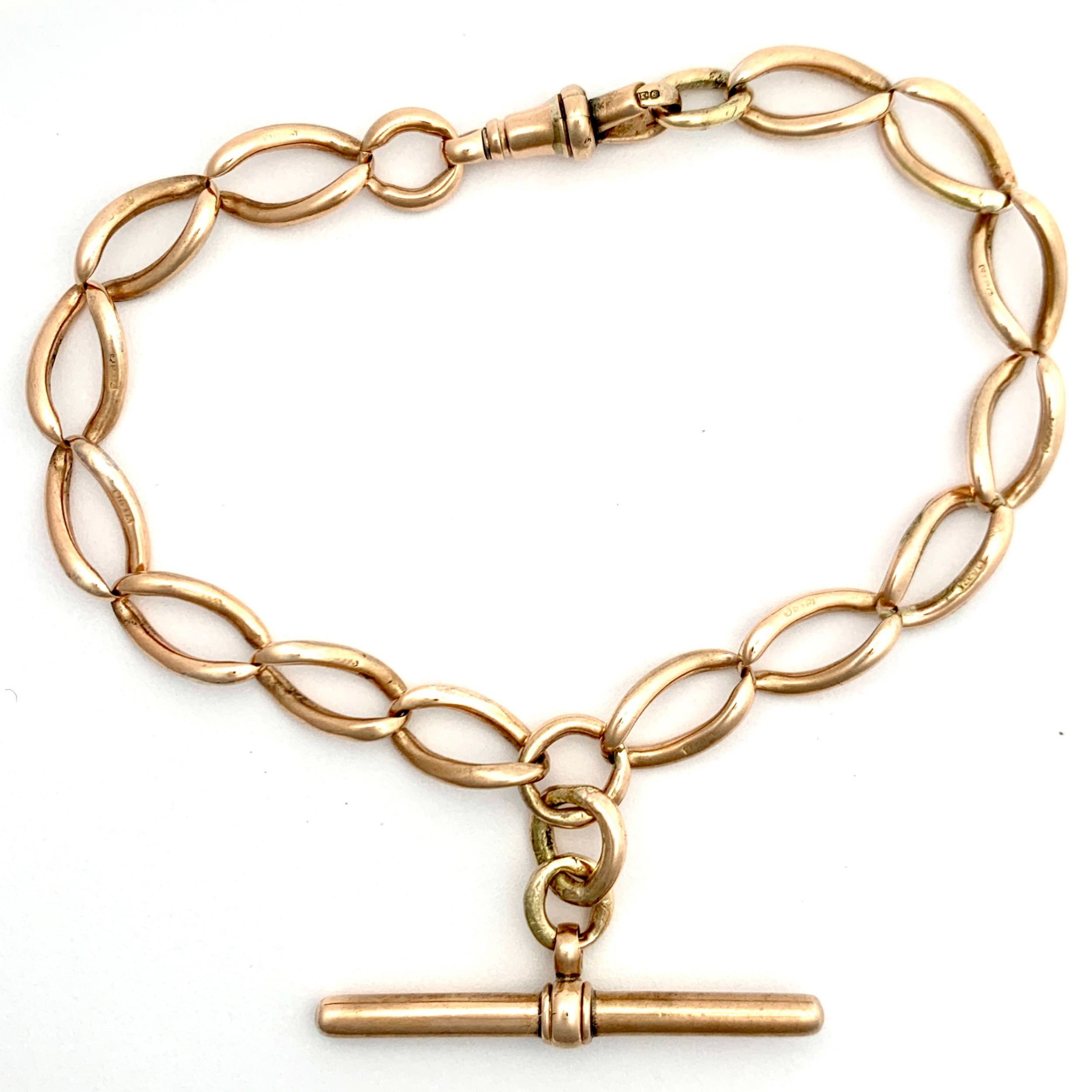 victorian 9ct rose gold bracelet with t bar