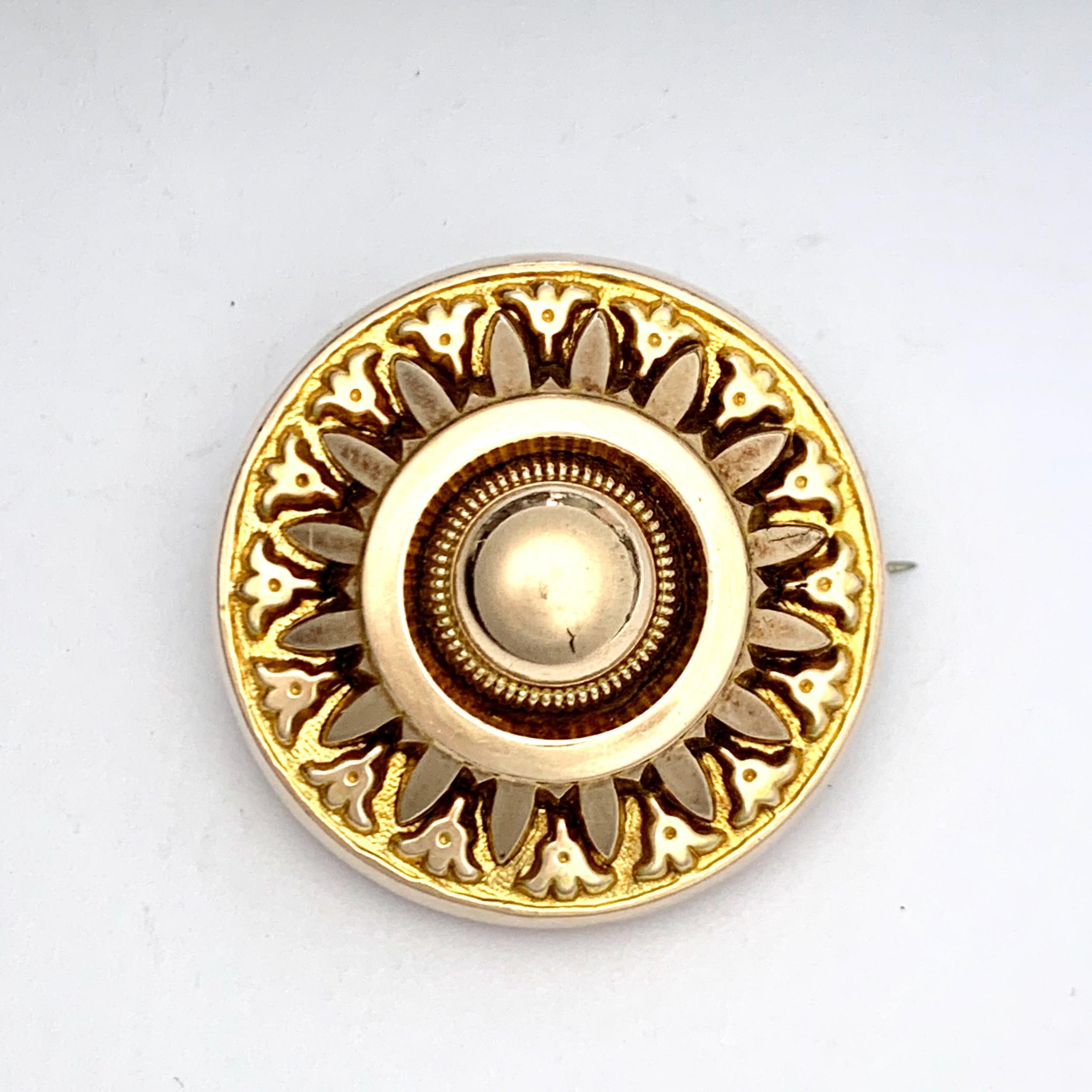 victorian etruscan revival 9ct gold sunburst locket brooch