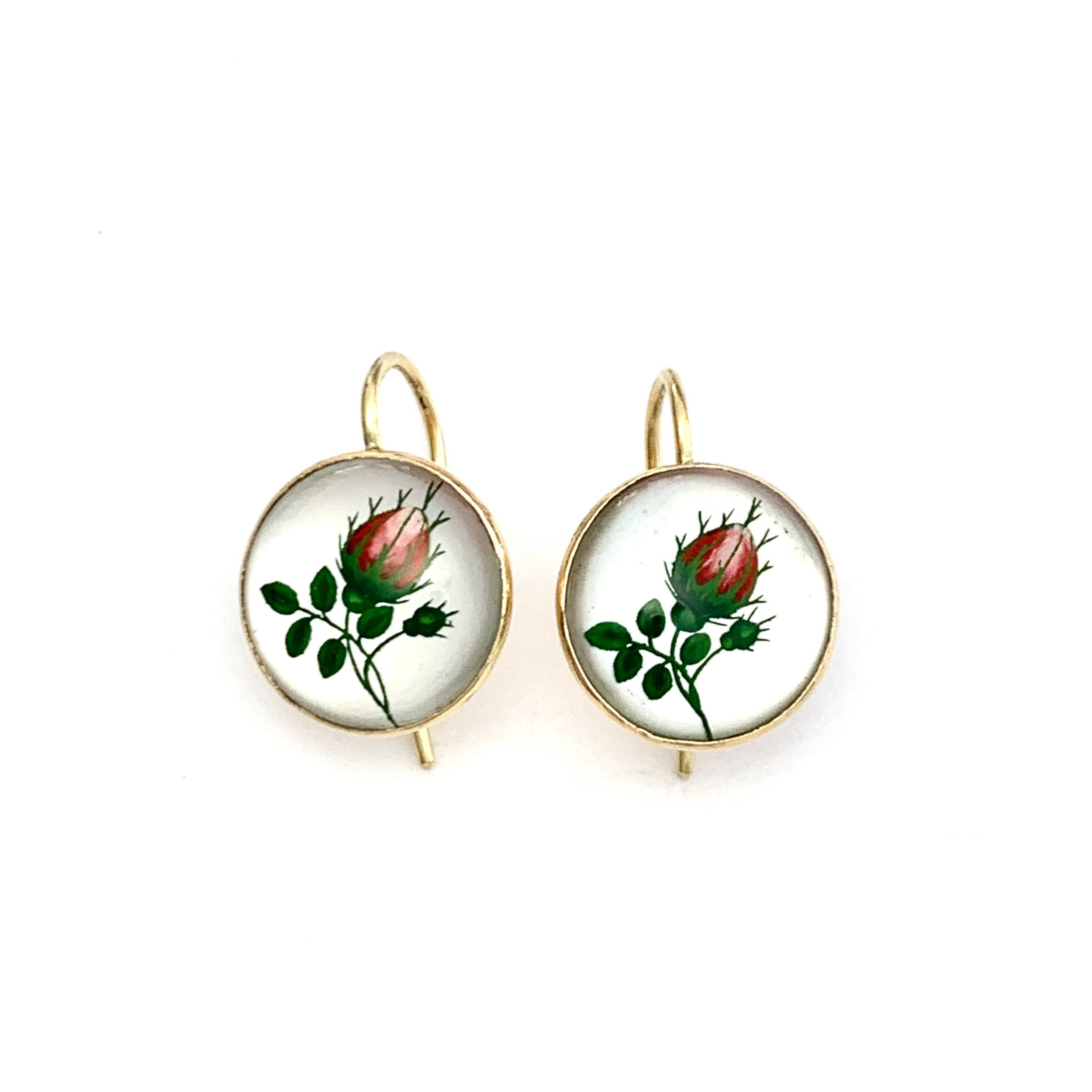 antique essex crystal 18ct gold rose flower earrings