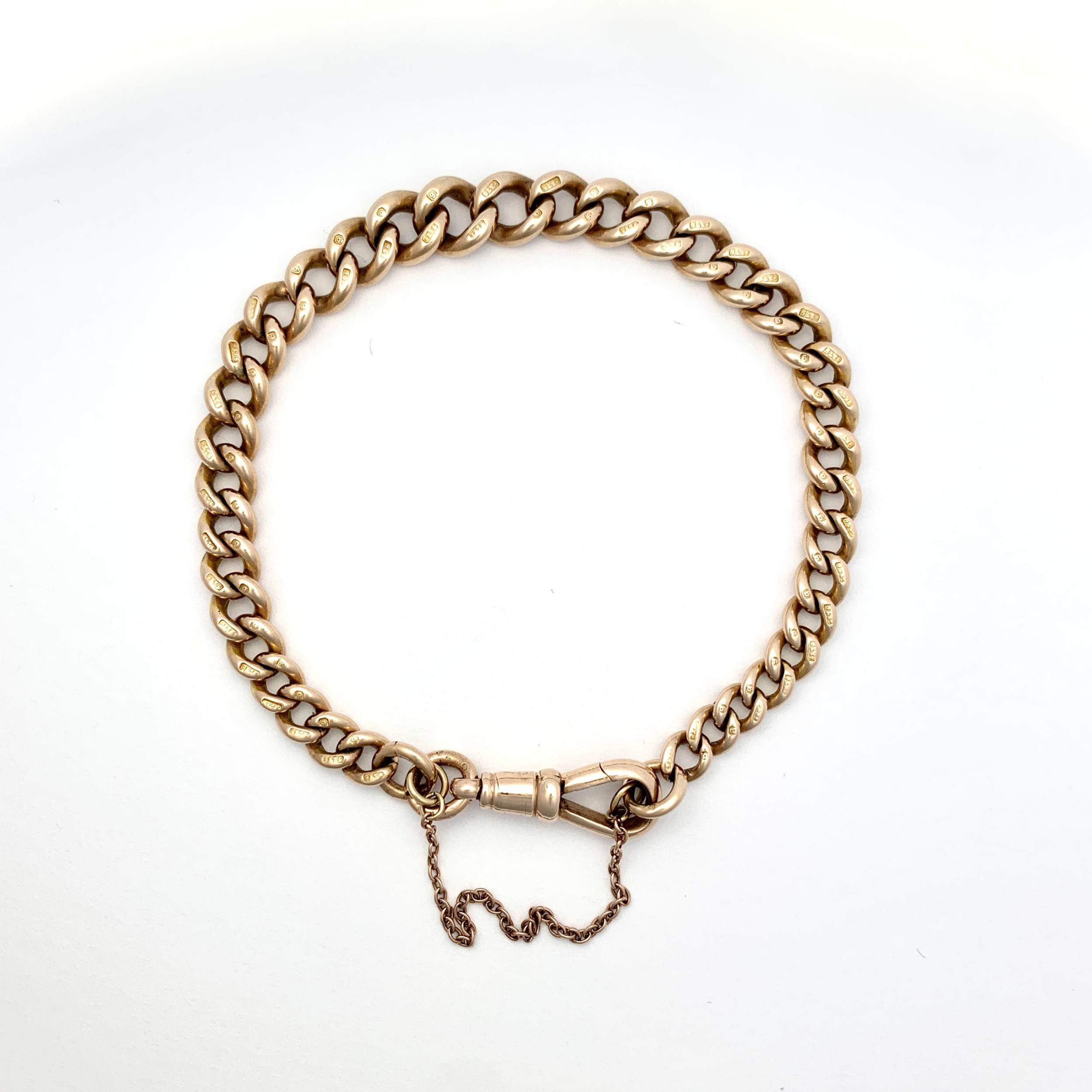 victorian 9ct rose gold curb chain bracelet with dog clip