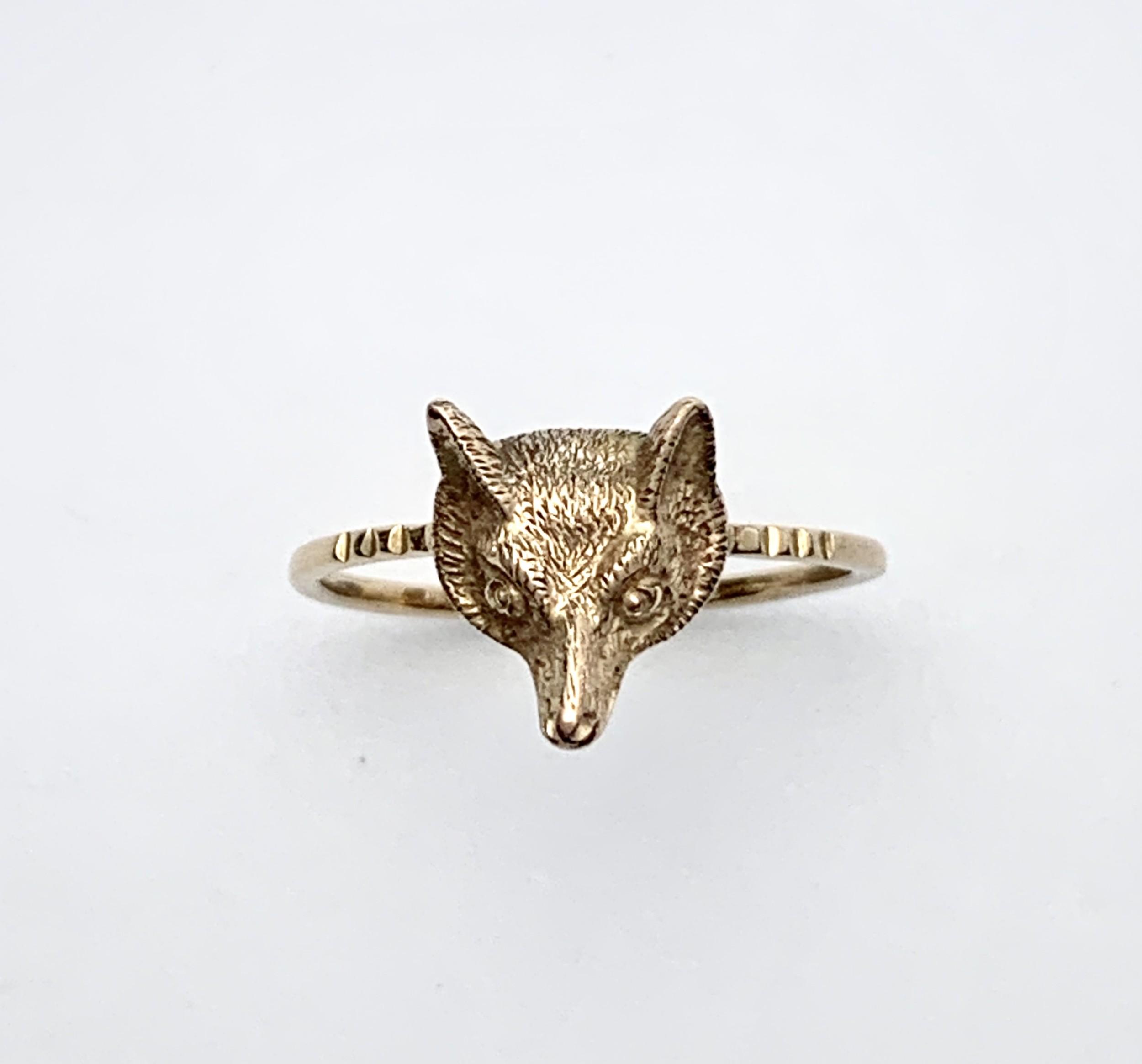 victorian fox head 9ct rose gold ring