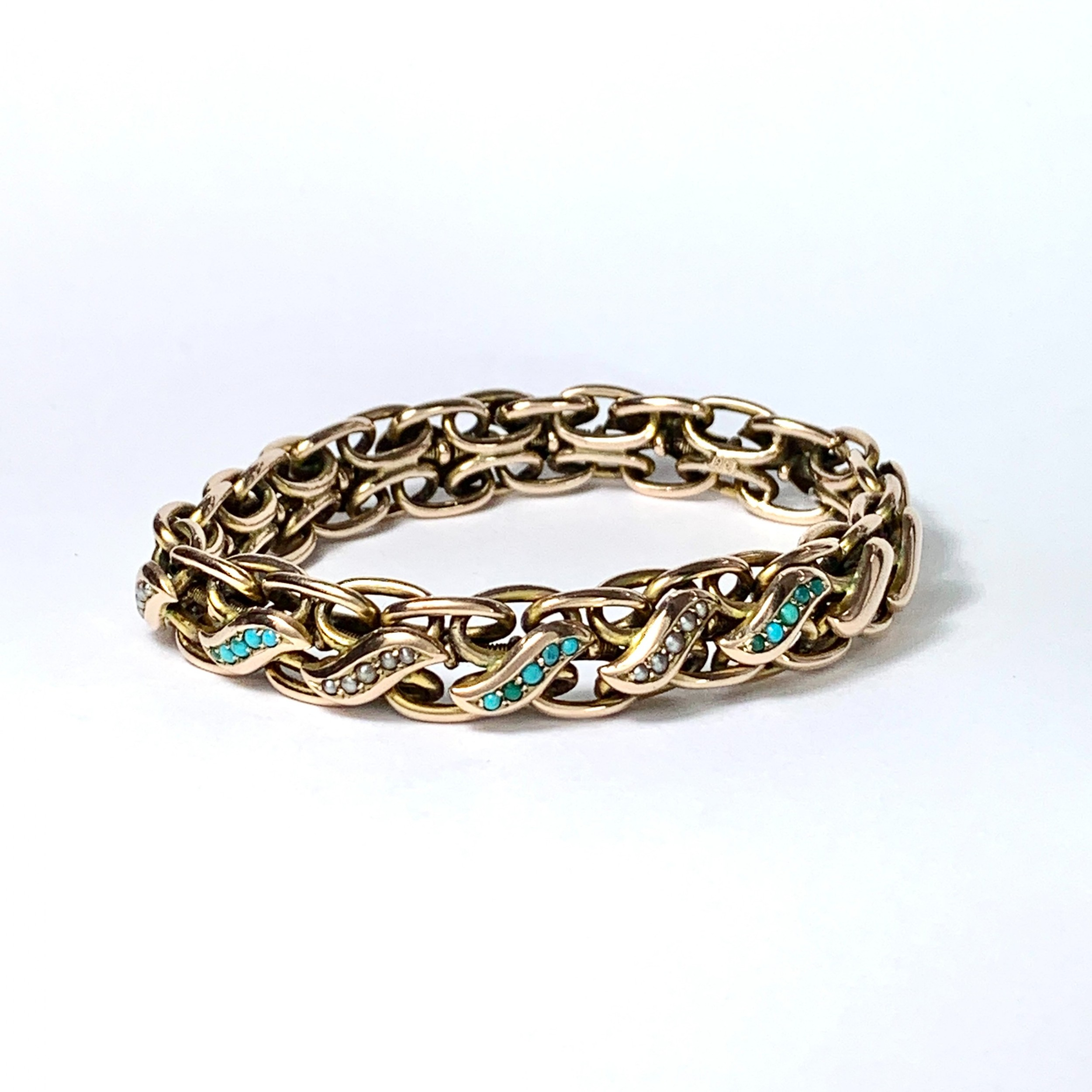 victorian turquoise and pearl 9ct rose gold expansion chain bracelet
